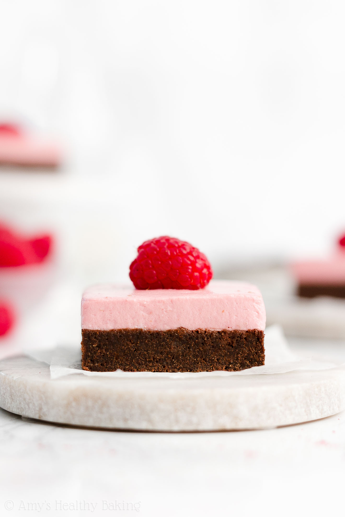 Easy Healthy Low Calorie Fudgy Dark Chocolate Brownies + Sugar Free Greek Yogurt Raspberry Frosting Without Butter