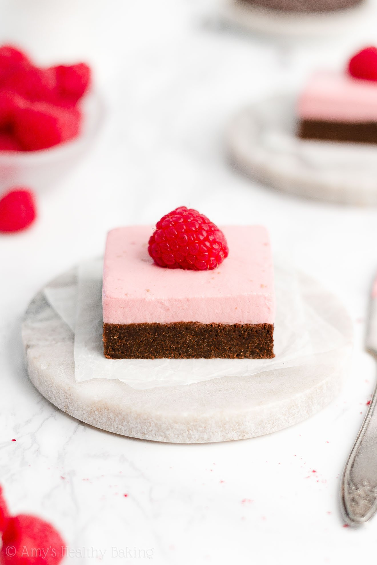 Easy Healthy Chewy Fudgy Greek Yogurt Dark Chocolate Brownies + Healthy Raspberry Frosting Without Butter