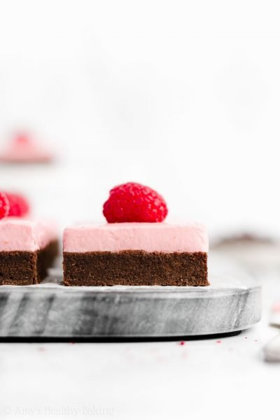 Healthy Fudgy Dark Chocolate Brownies with Raspberry Frosting
