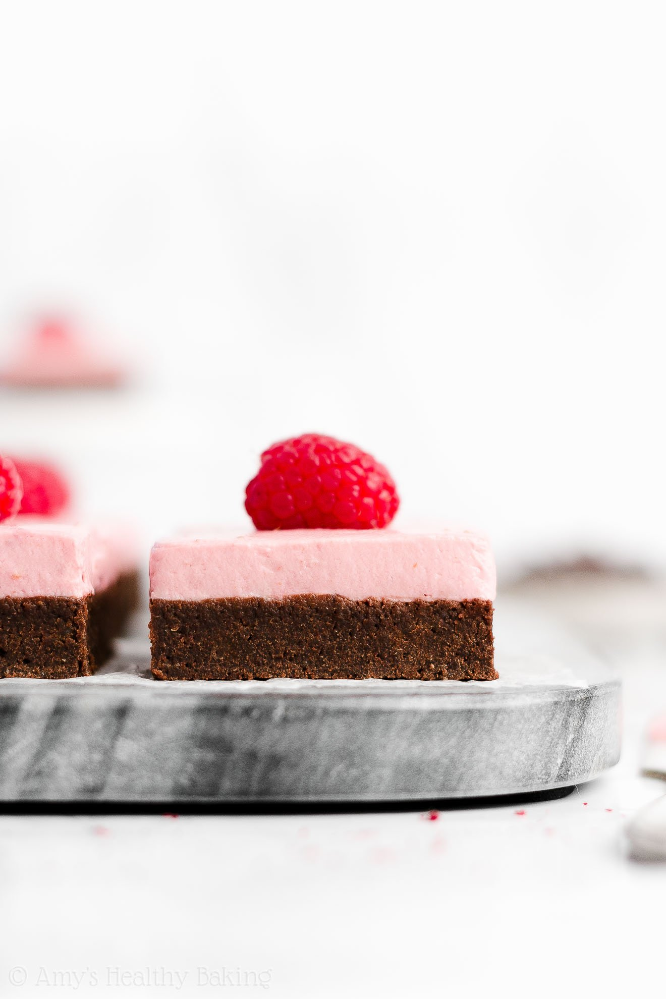 Easy Healthy Gluten Free Fudgy Dark Chocolate Brownies + Raspberry Frosting Without Powdered Sugar and Butter