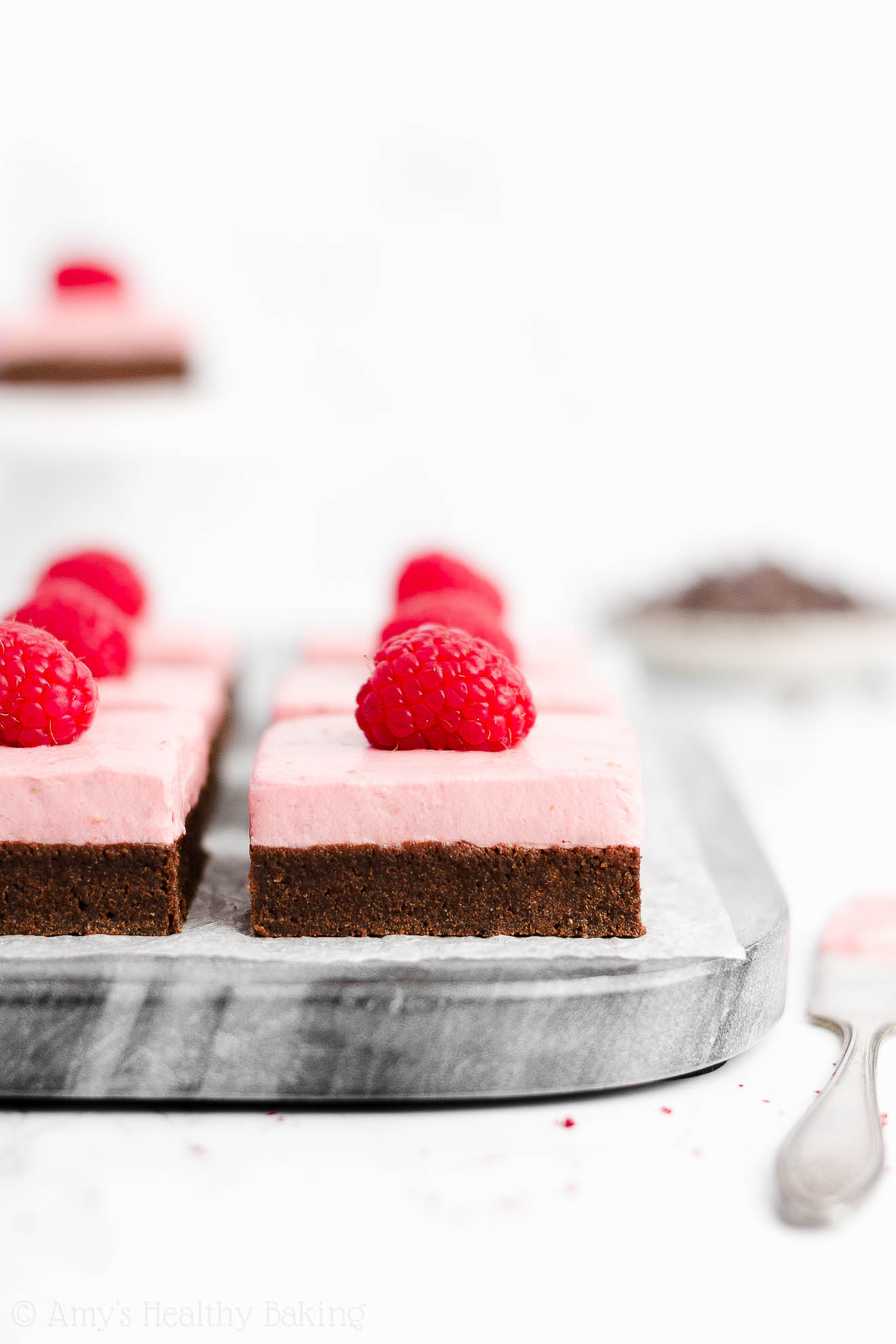 Easy Healthy Homemade Cocoa Powder Fudgy Dark Chocolate Brownies + Sugar Free Greek Yogurt Raspberry Frosting