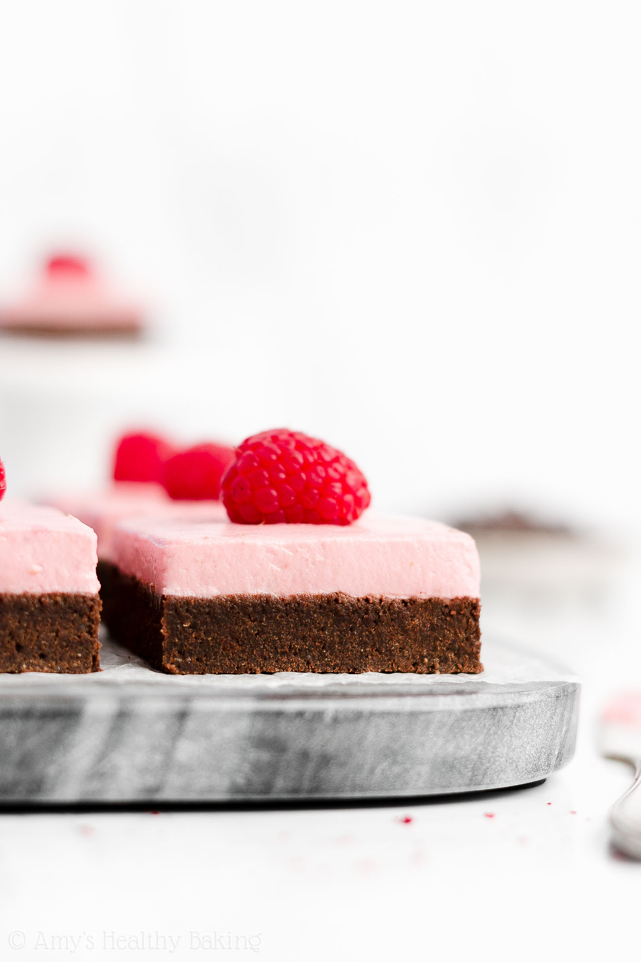 Easy Healthy Clean Low Fat Fudgy Dark Chocolate Brownies + Low Fat Raspberry Frosting With Freeze Dried Raspberries