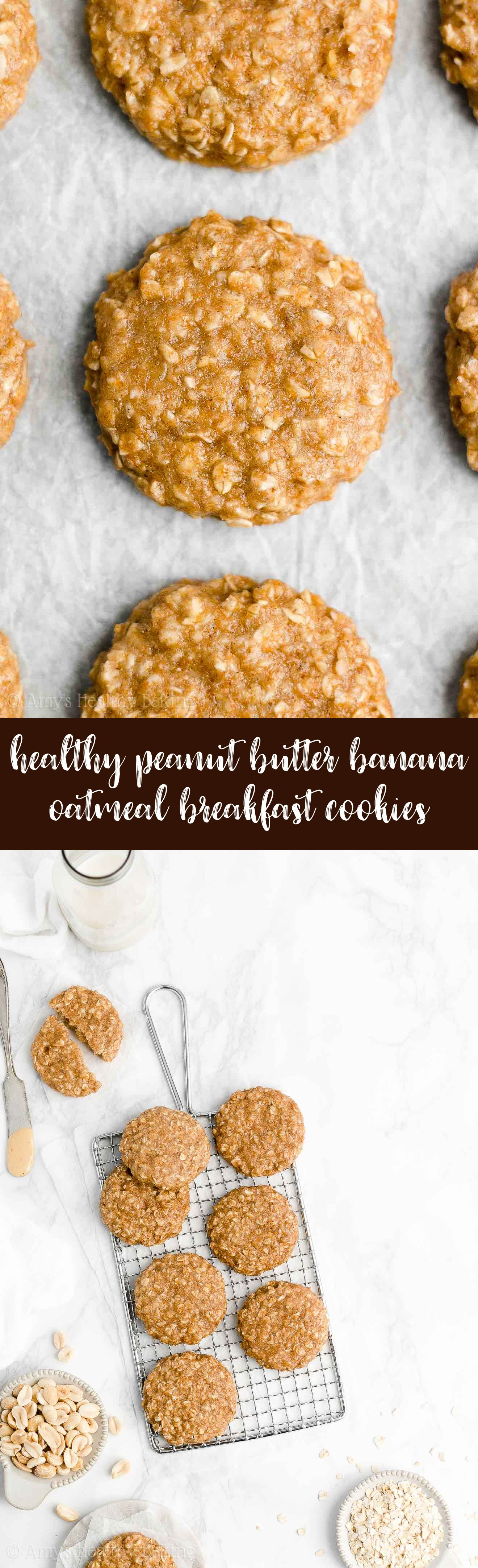 Best Easy Healthy Vegan Low Calorie Peanut Butter Banana Oatmeal Breakfast Cookies