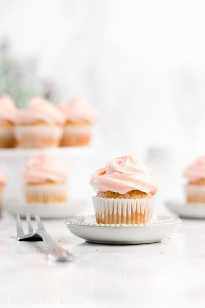 Healthy Small Batch Mini Banana Cupcakes with Strawberry Frosting