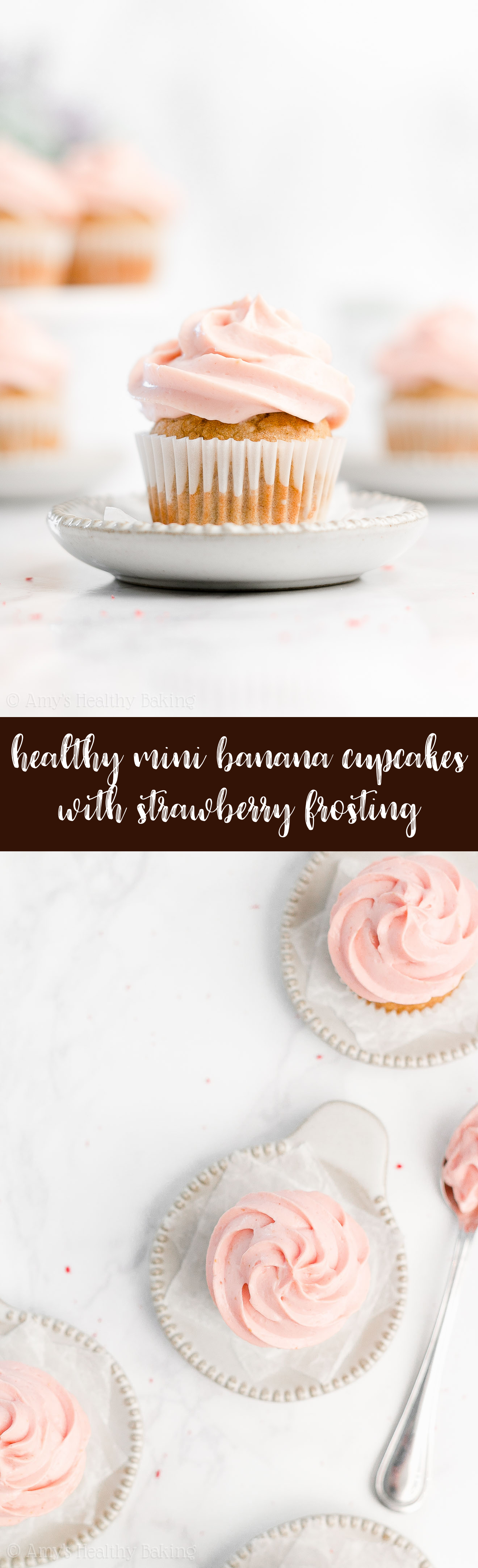 Best Easy Healthy Low Calorie No Sugar Small Batch Mini Banana Cupcakes + Greek Yogurt Strawberry Frosting