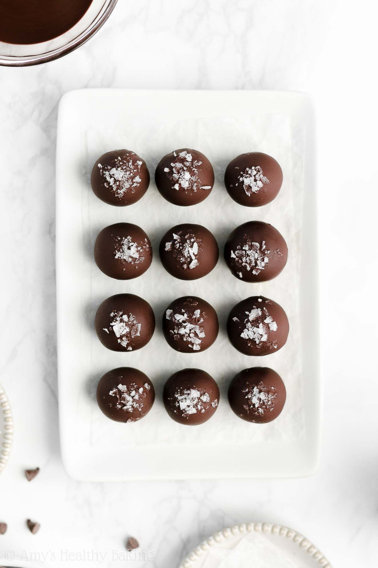 Easy Healthy Gluten Free Dark Chocolate Snickerdoodle Cookie Dough Truffles