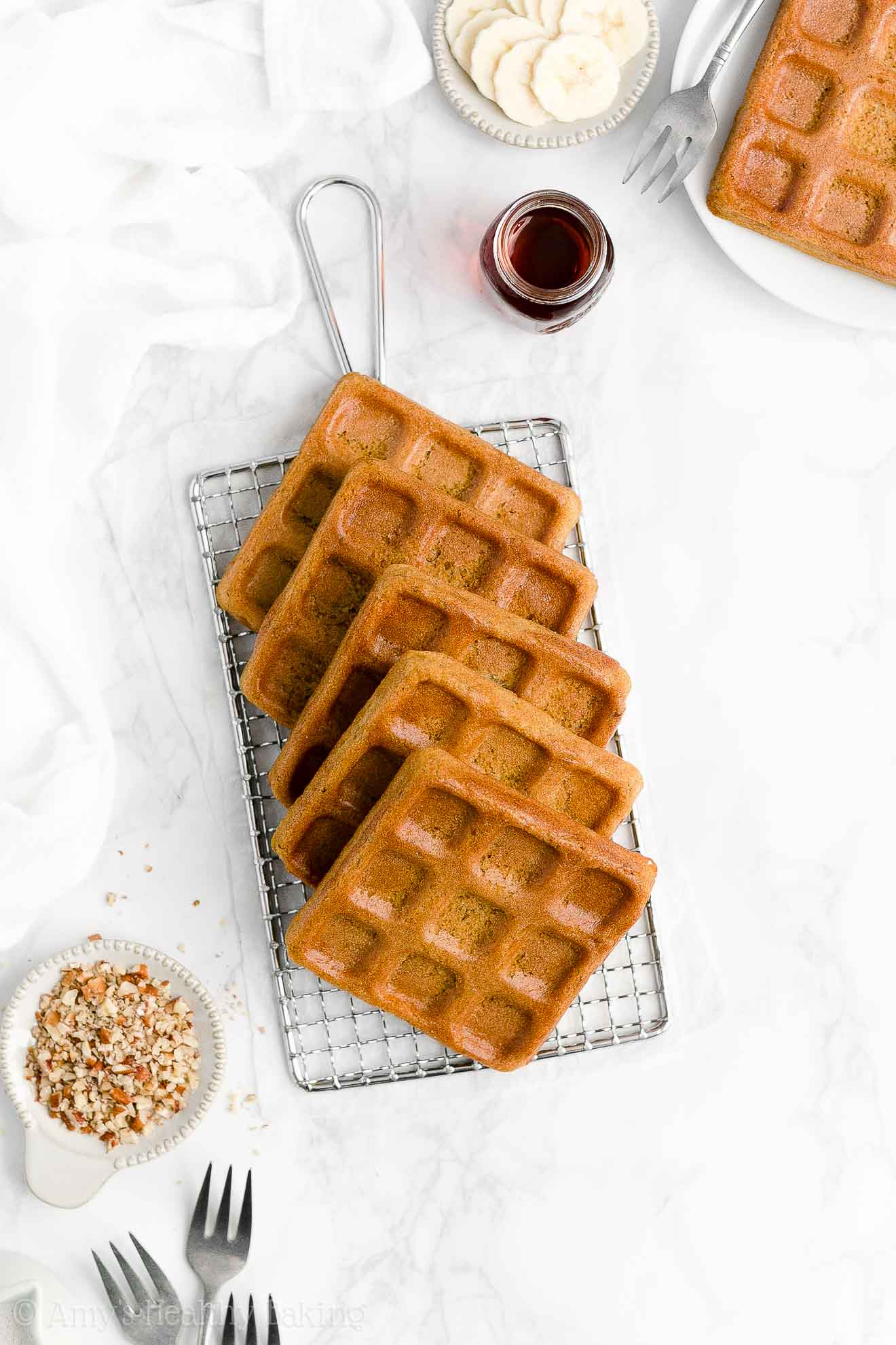 Best Easy Healthy Clean Eating Low Sugar Low Fat Baked Crispy Banana Waffles