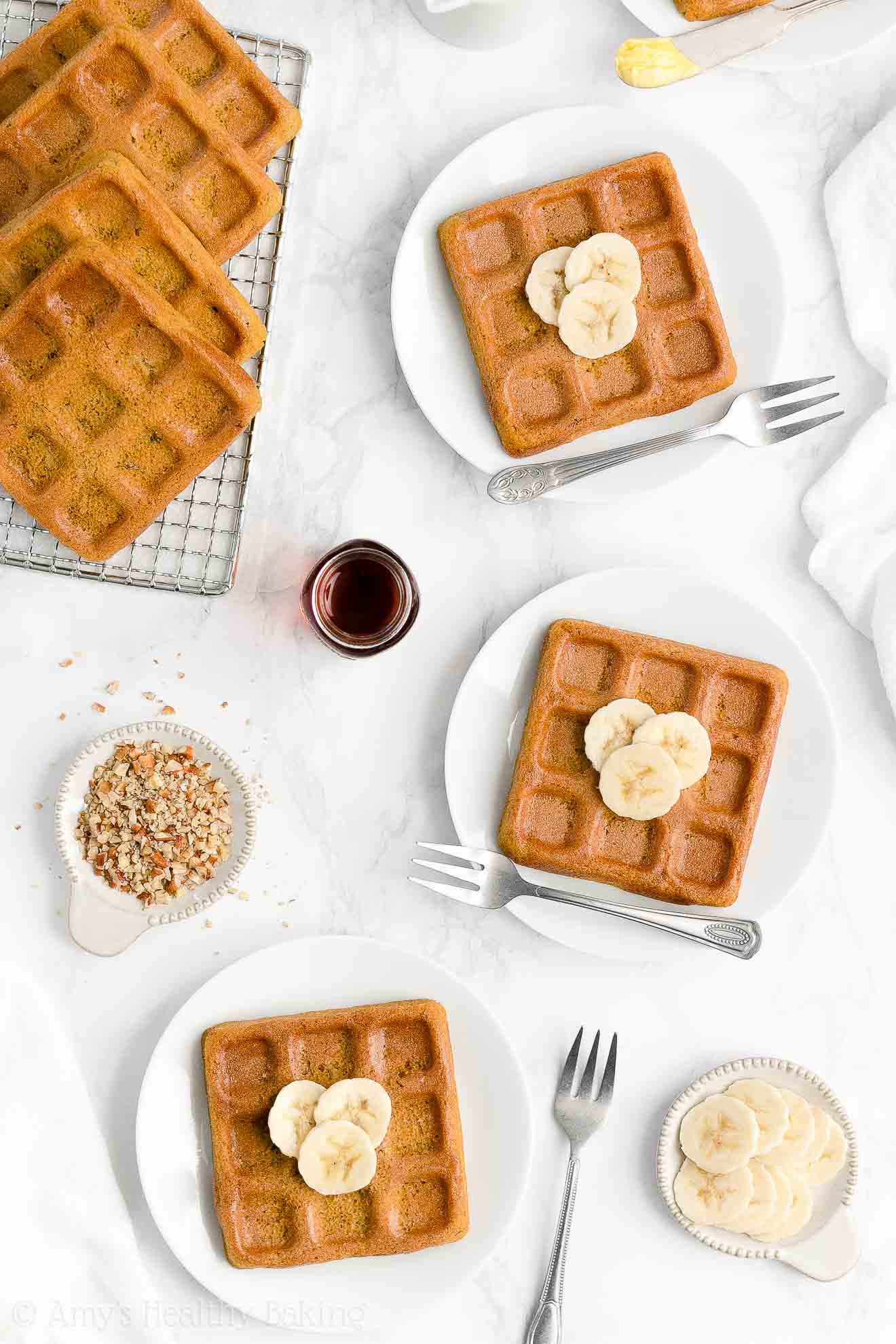 Best Easy Healthy Low Calorie Low Sugar Dairy Free Crispy Fluffy Banana Waffles
