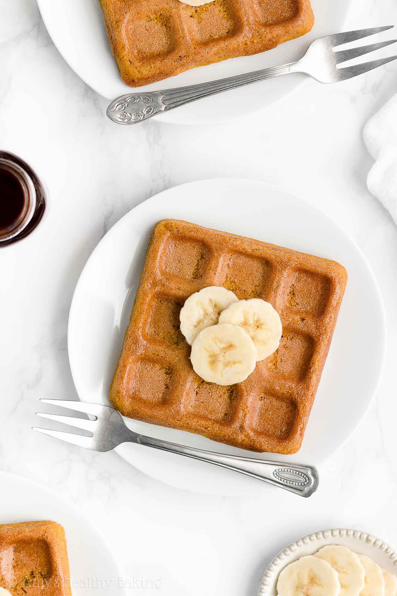 Best Easy Healthy Whole Wheat Sugar Free Dairy Free Crispy Fluffy Banana Waffles