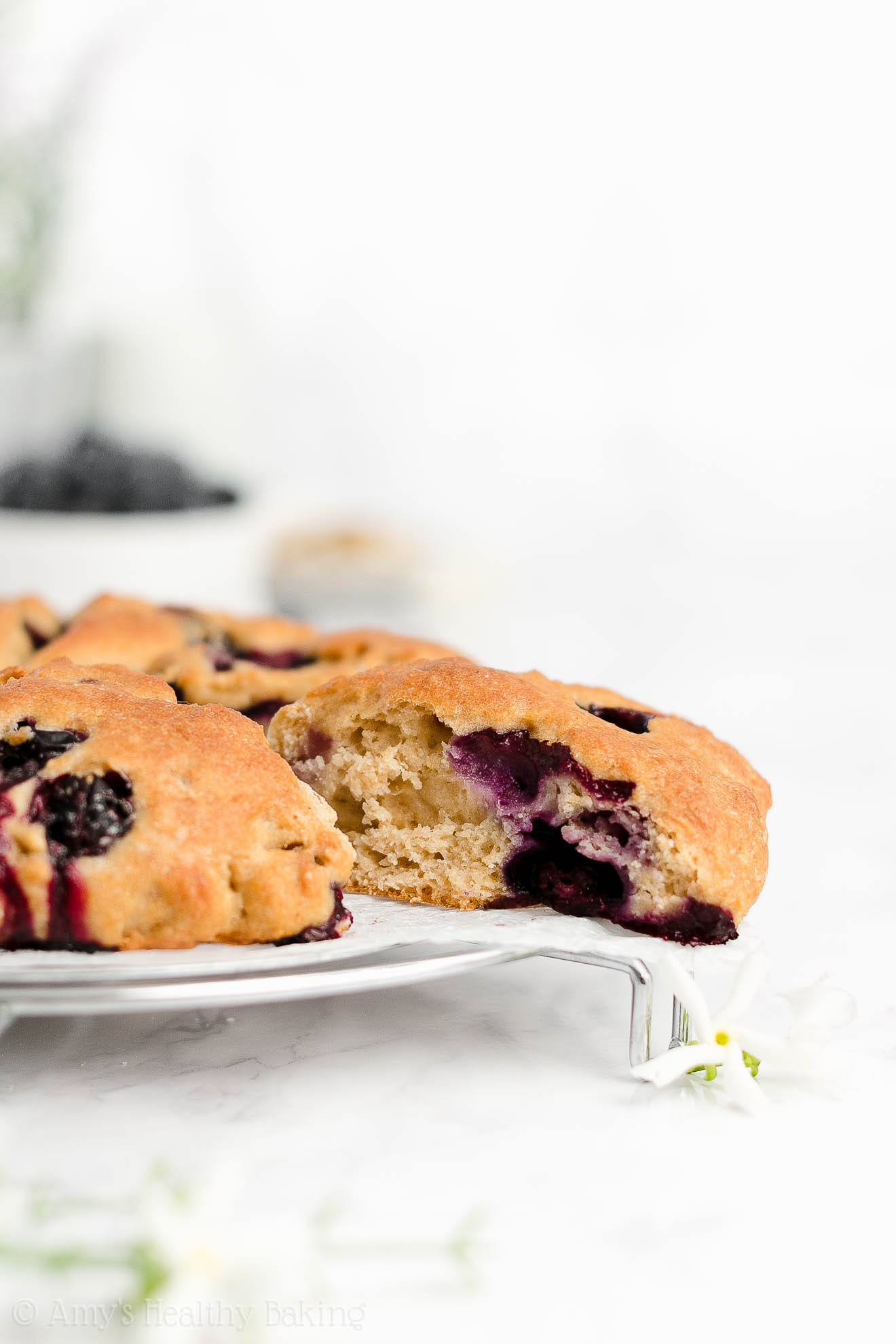 Easy Healthy Clean Eating Maple Syrup Greek Yogurt Blueberry Almond Scones