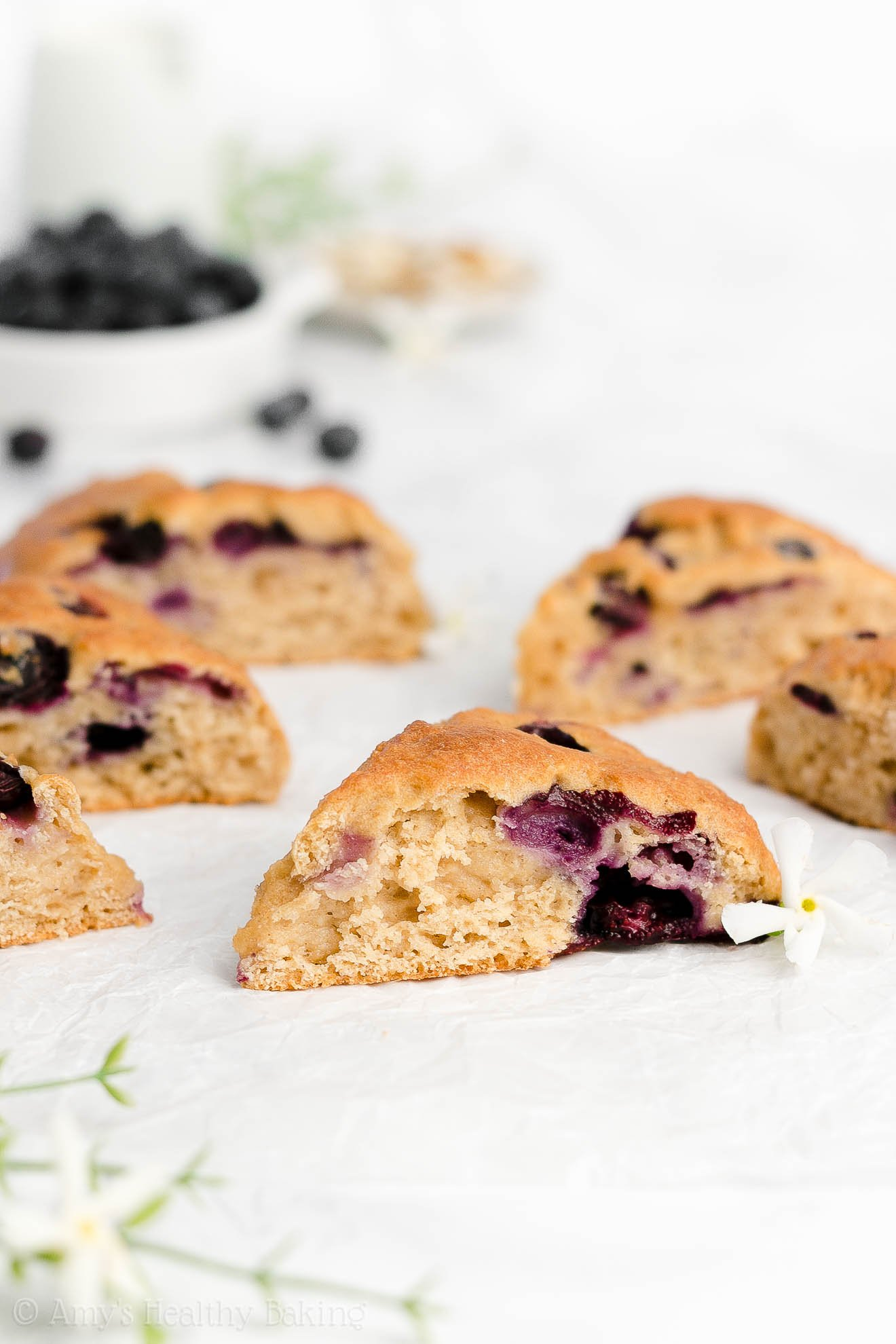 Easy Healthy Clean Eating Gluten Free Greek Yogurt Blueberry Almond Scones