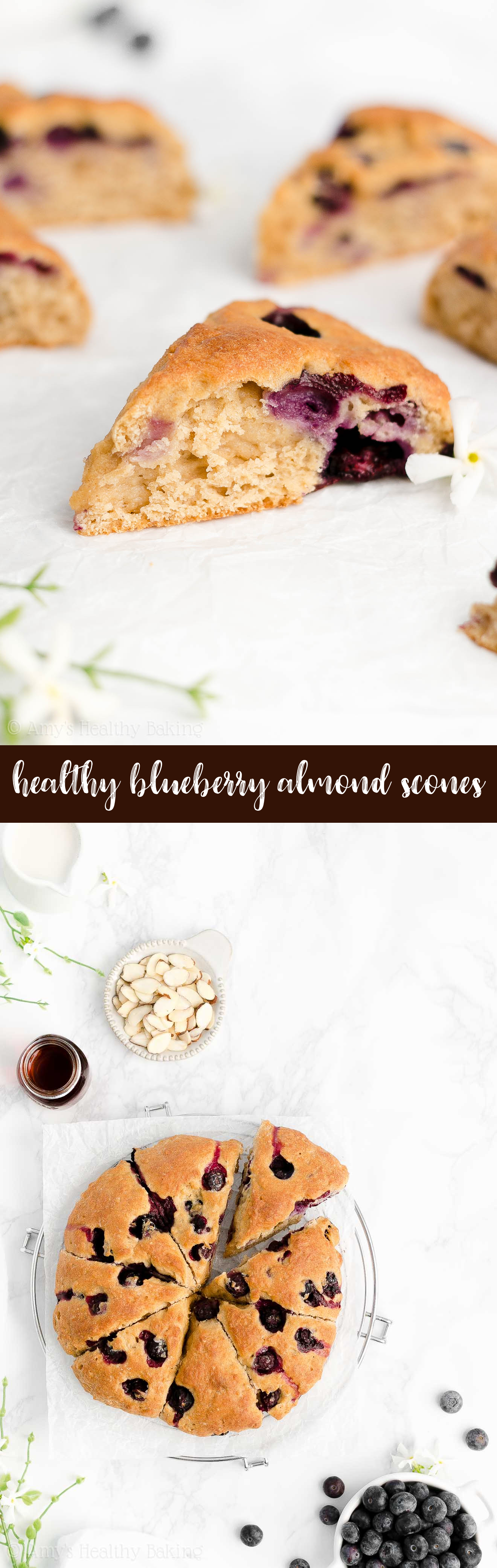 Best Easy Healthy Clean Eating Greek Yogurt Moist Fresh Blueberry Almond Scones