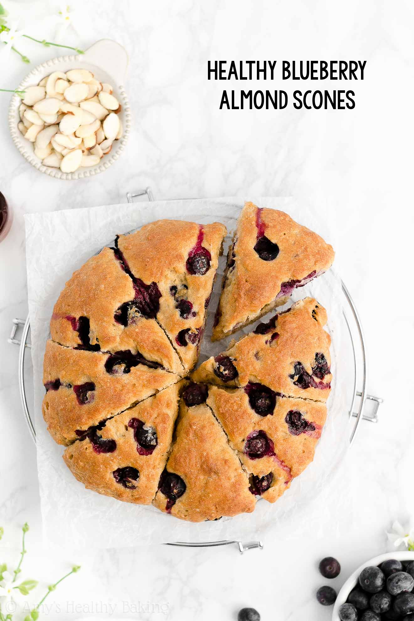 Best Easy Healthy Clean Eating Gluten Free Greek Yogurt Fresh Blueberry Almond Scones
