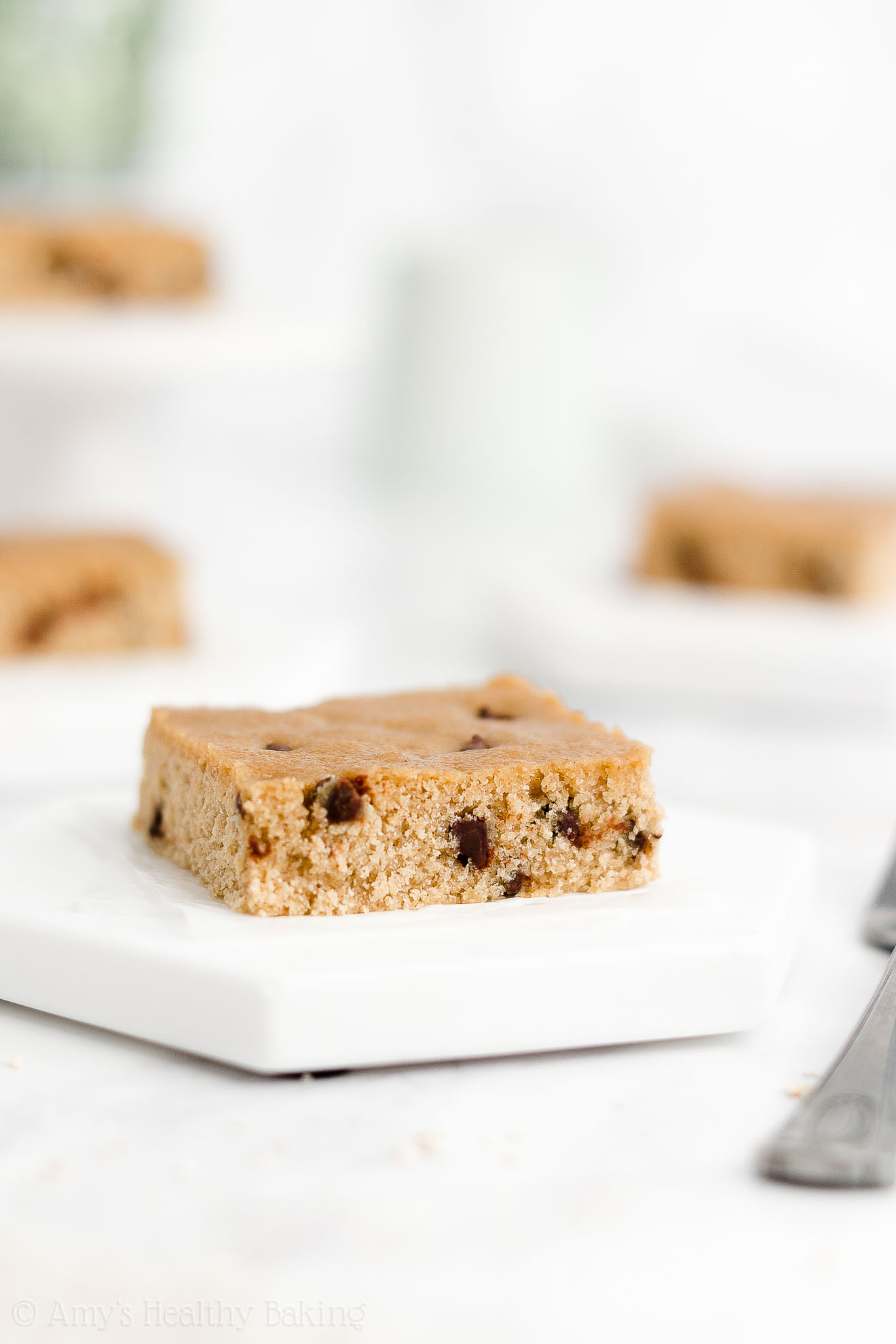 Easy Healthy Gluten Free Vegan Fudgy One Bowl Flourless Chocolate Chip Blondies
