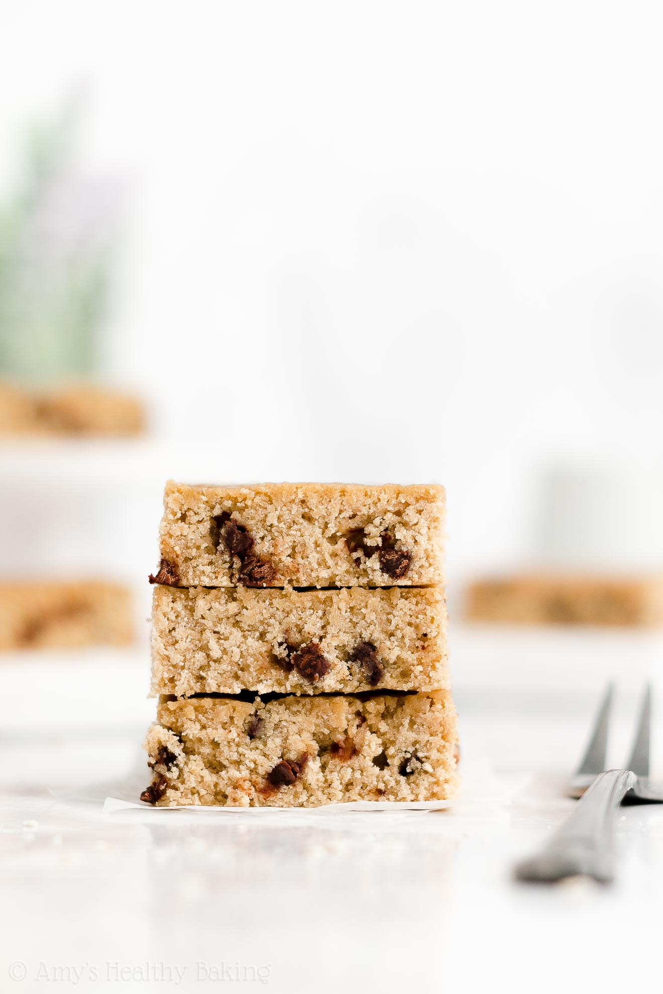 Easy Healthy Dairy Free Low Fat Chewy One Bowl Flourless Chocolate Chip Blondies