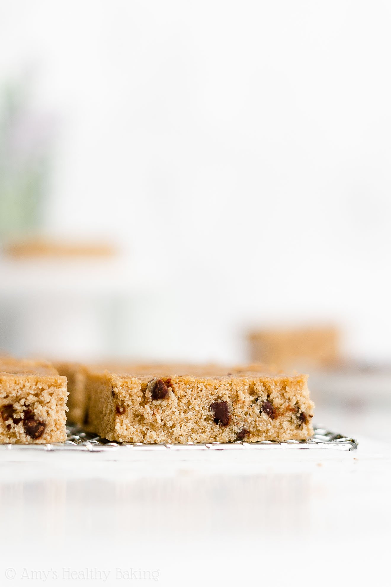 Easy Healthy Low Fat Low Calorie One Bowl Flourless Chocolate Chip Blondies