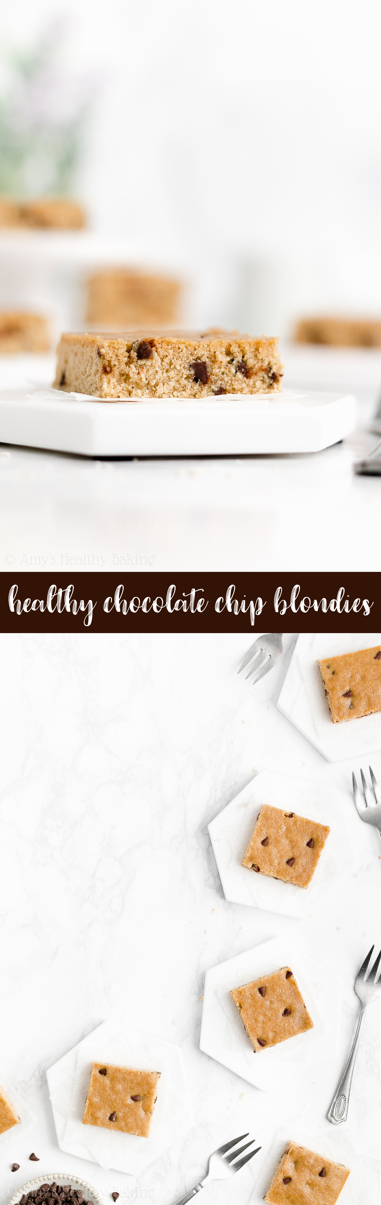 Best Easy Healthy Gluten Free Chewy One Bowl Flourless Chocolate Chip Blondies