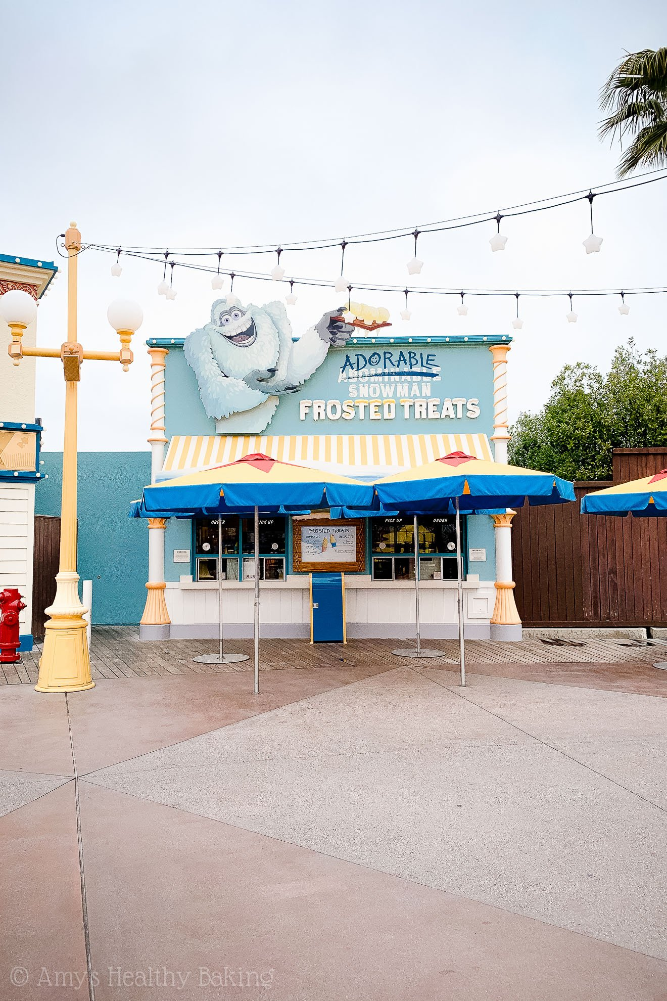 Abominable snowman frosted treats stand in California Adventure