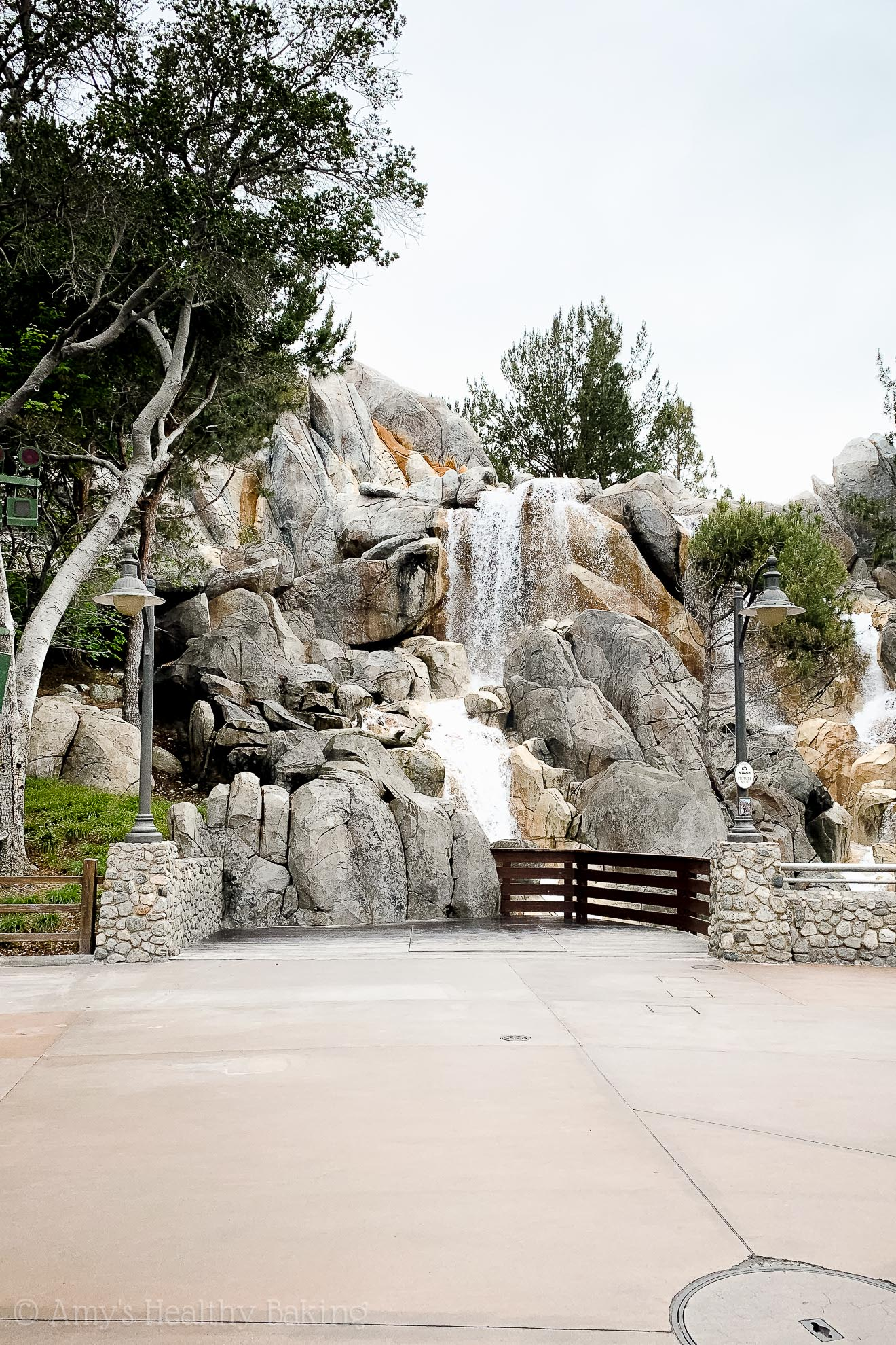 Waterfall on the back side of Grizzly River Run in California Adventure