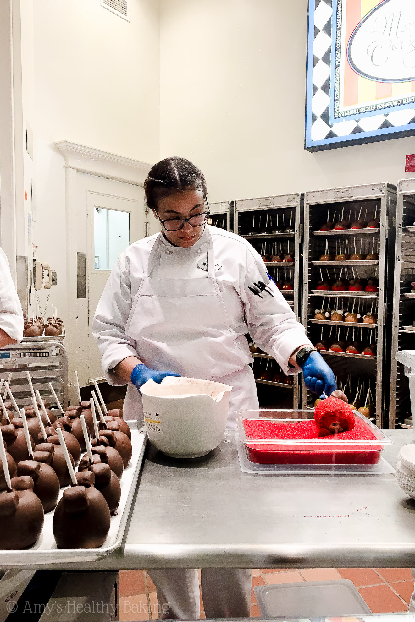Making Mickey Mouse caramel apples in Downtown Disney - Anaheim, California