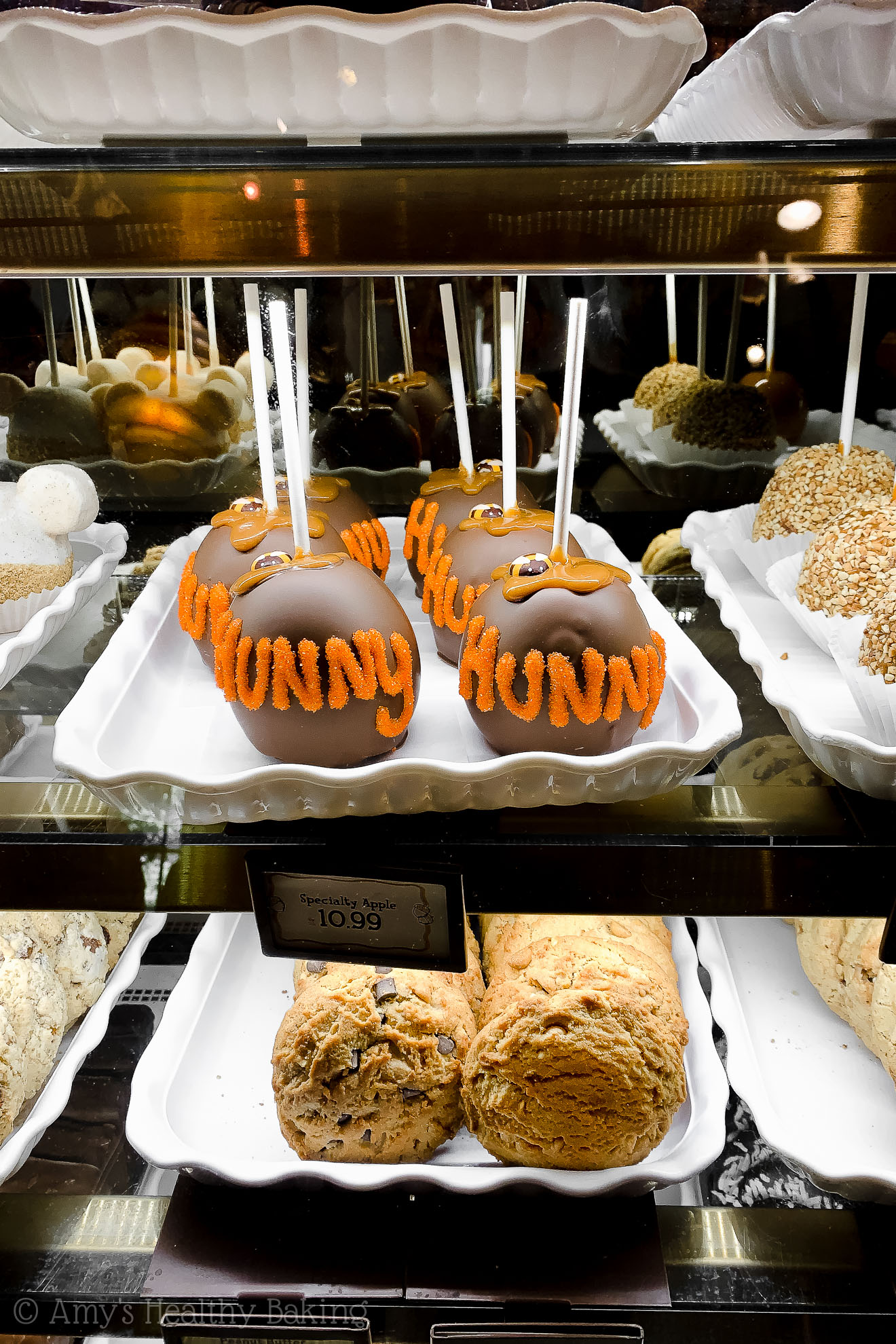 Pooh Bear themed caramel apples in Disneyland - Anaheim, California