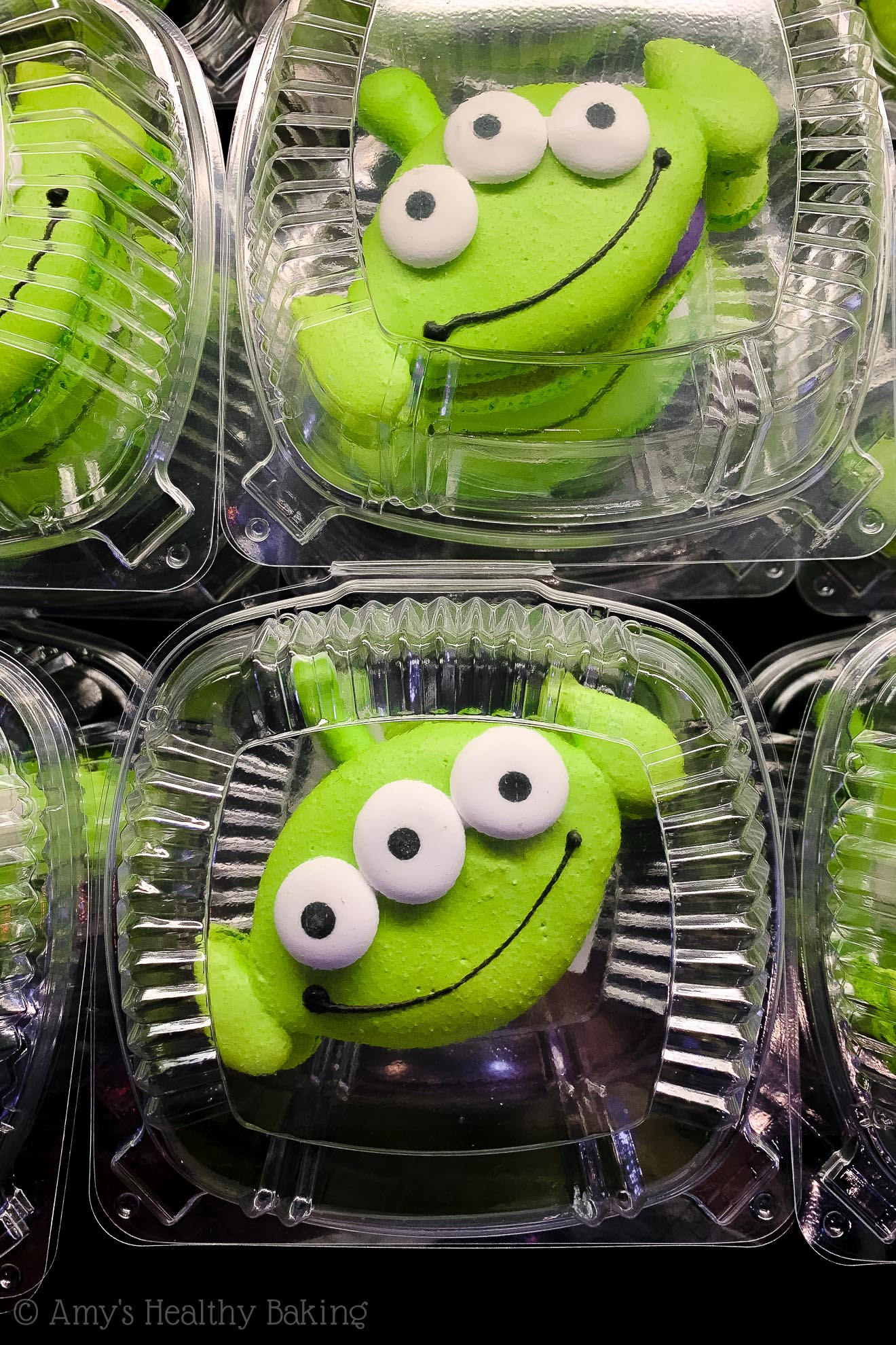Bright green alien macarons from Pizza Port in Disneyland - Anaheim