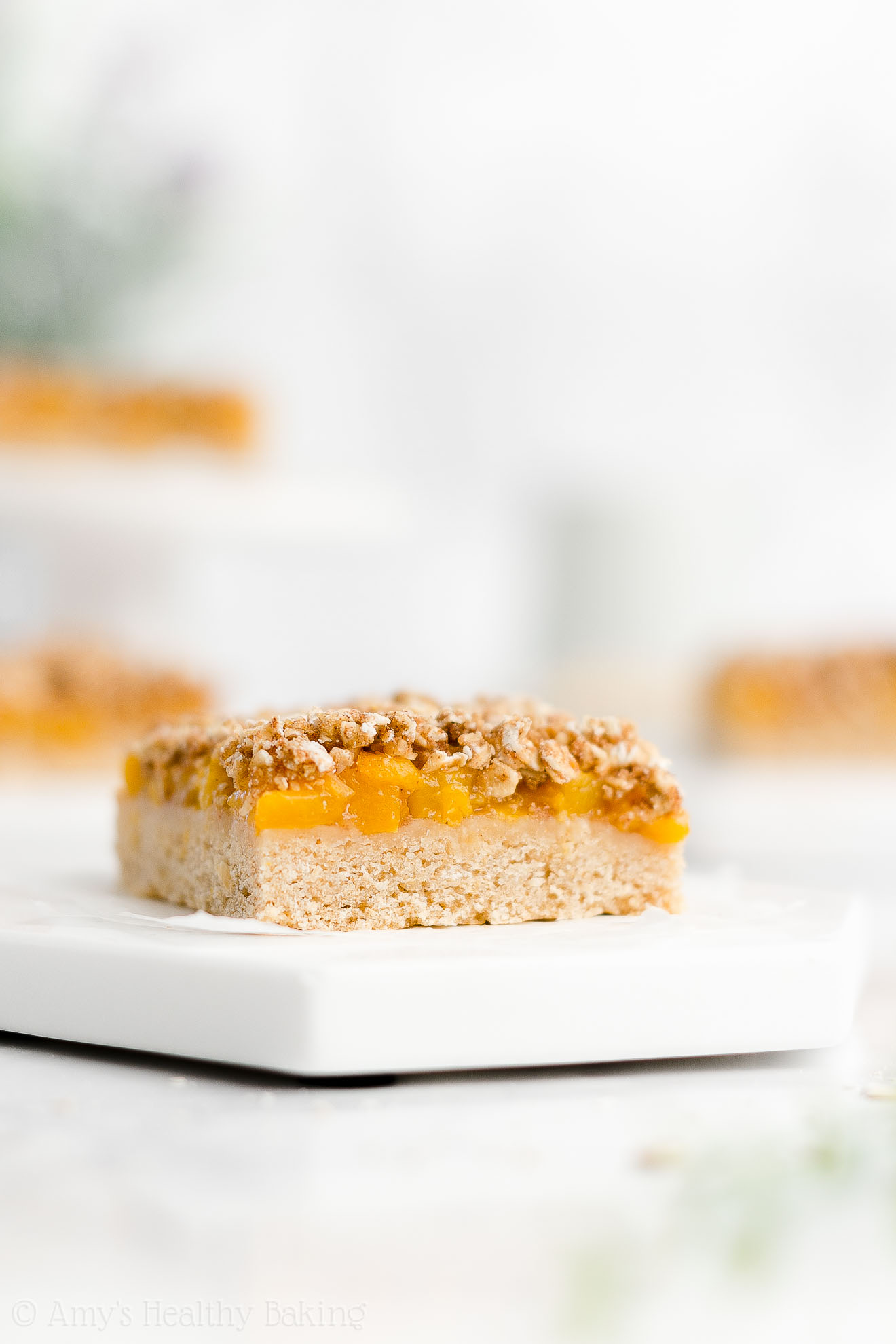 Best Easy Healthy Low Sugar Vegan Gluten Free Peach Oatmeal Crumble Bars