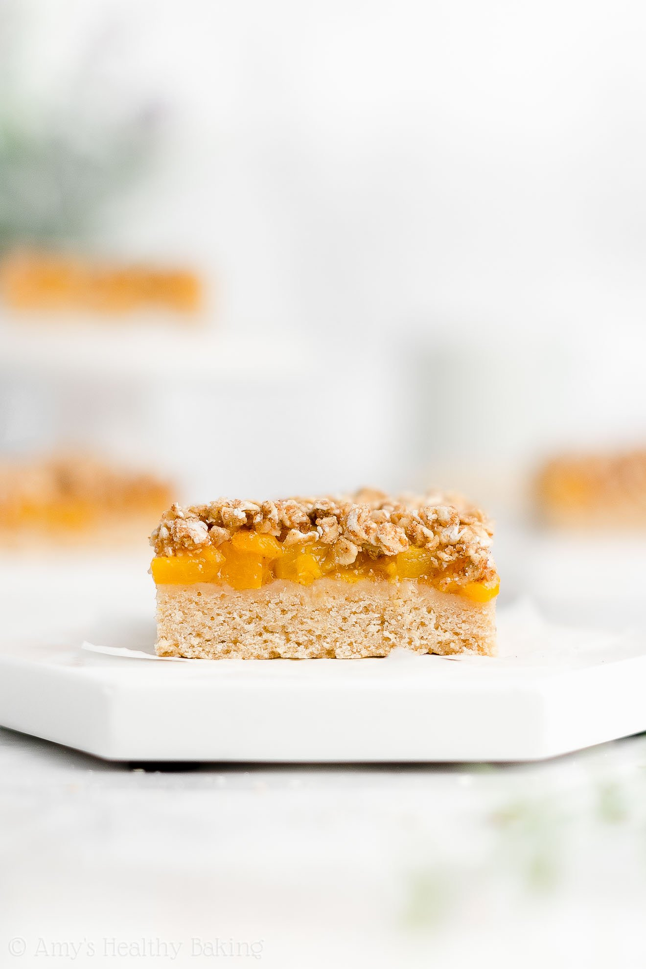Easy Healthy Low Fat Weight Watchers Egg Free Canned Peach Crumble Bars
