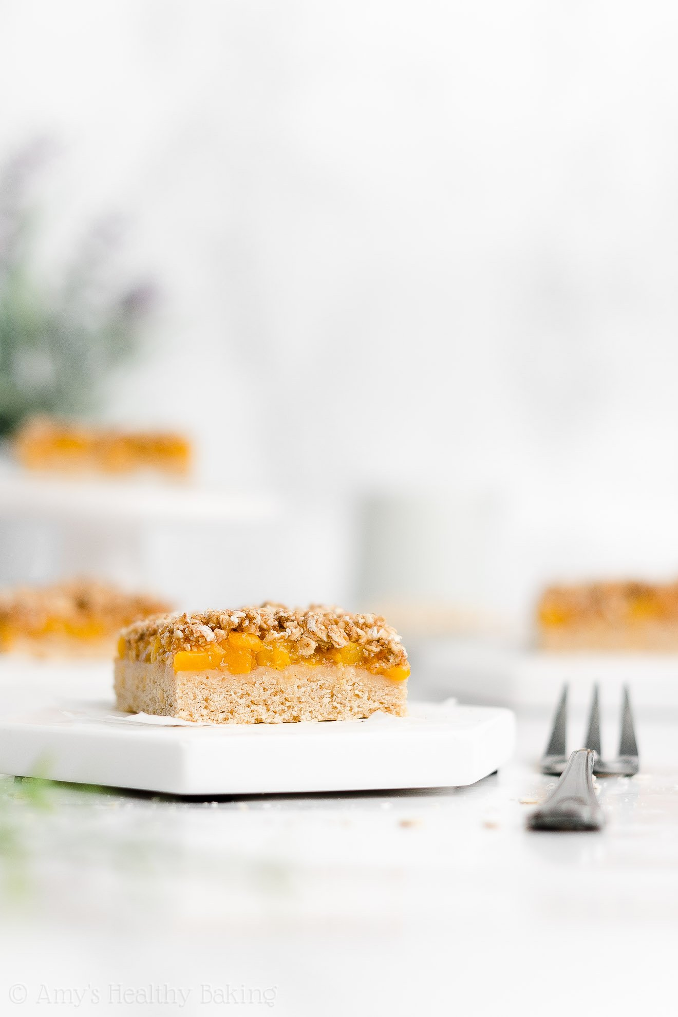 Easy Healthy Low Calorie Vegan Gluten Free Peach Oatmeal Crumble Bars