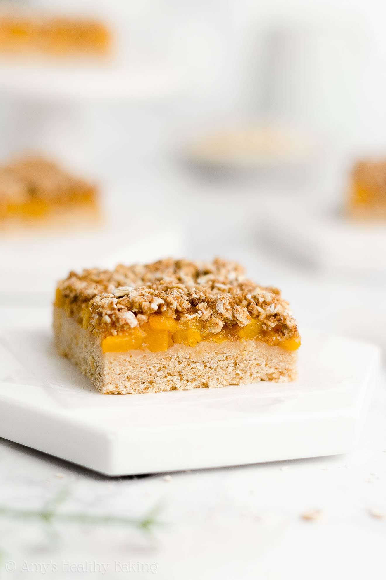 Best Easy Healthy Whole Wheat Low Calorie Canned Peach Oat Crumble Bars