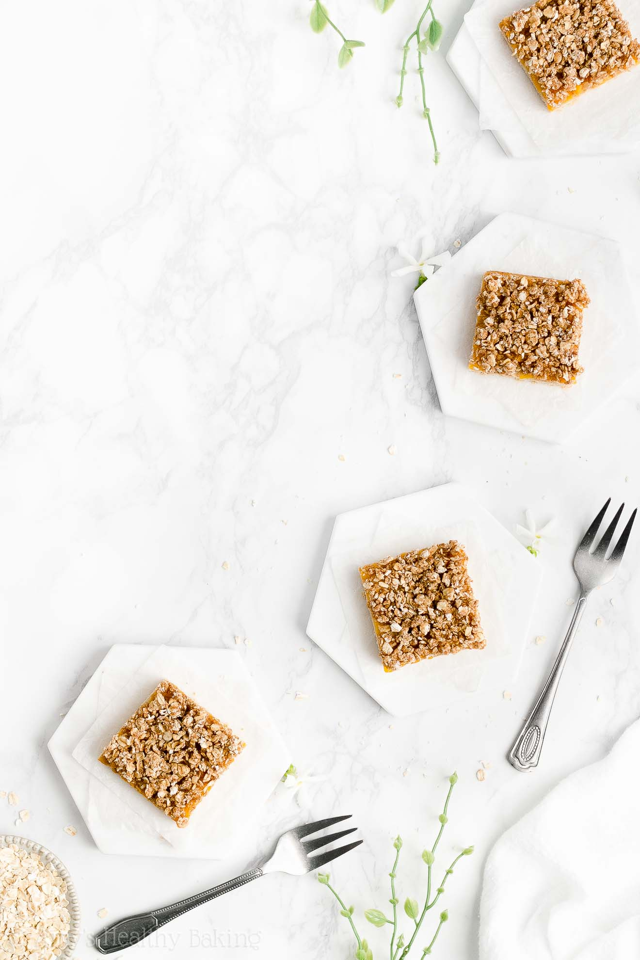 Best Easy Healthy Low Sugar Peach Oatmeal Crumble Bars with Canned Peaches