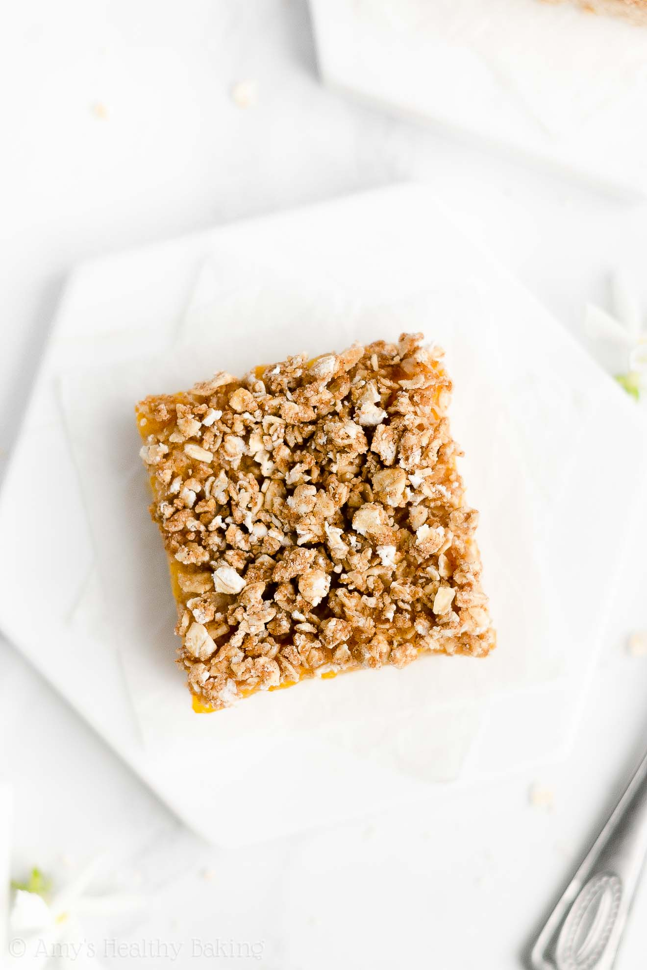 Best Easy Healthy Clean Eating Whole Wheat Low Sugar Peach Crumble Bars