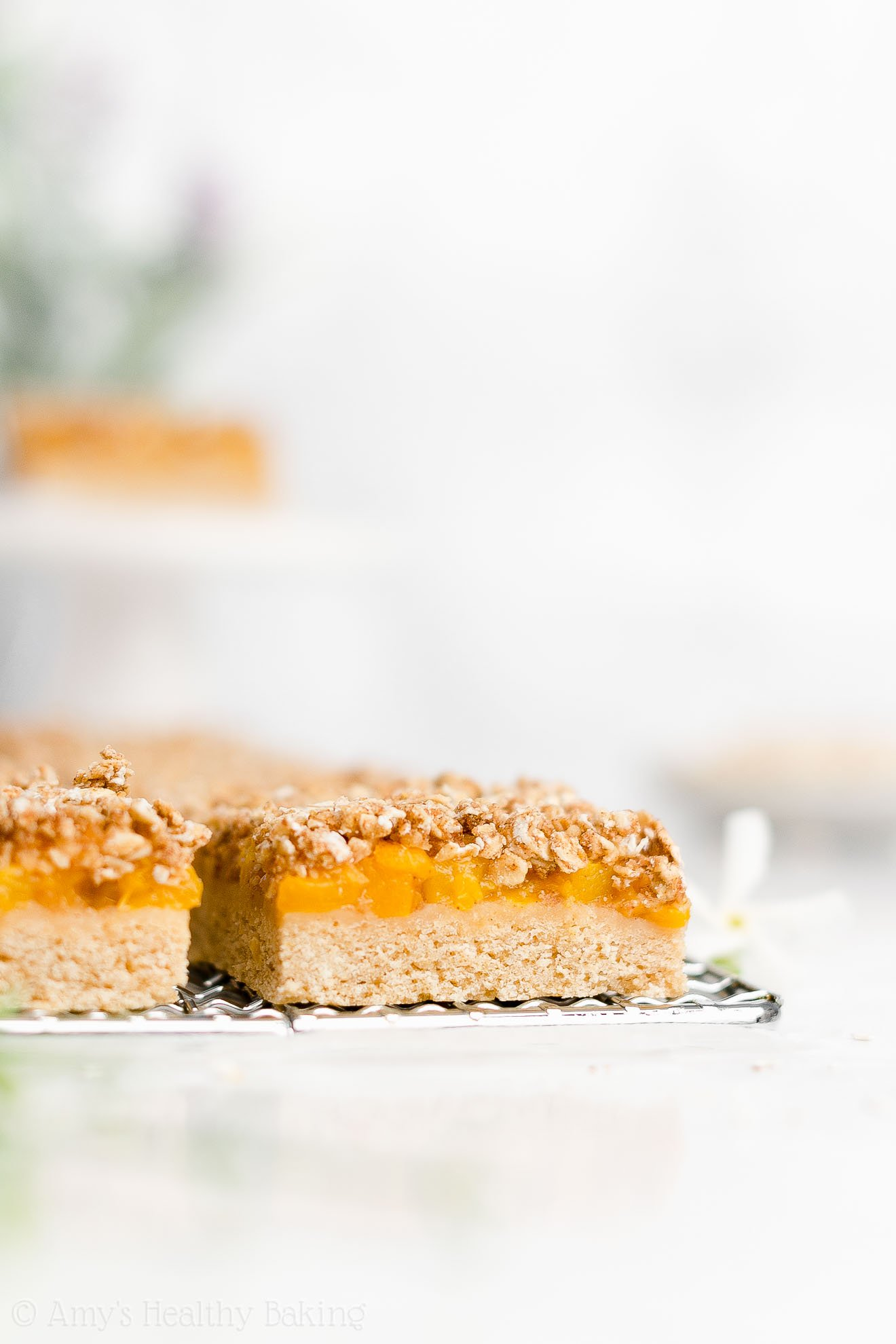 Best Easy Healthy Low Calorie Vegan Gluten Free Fresh Peach Crumble Bars