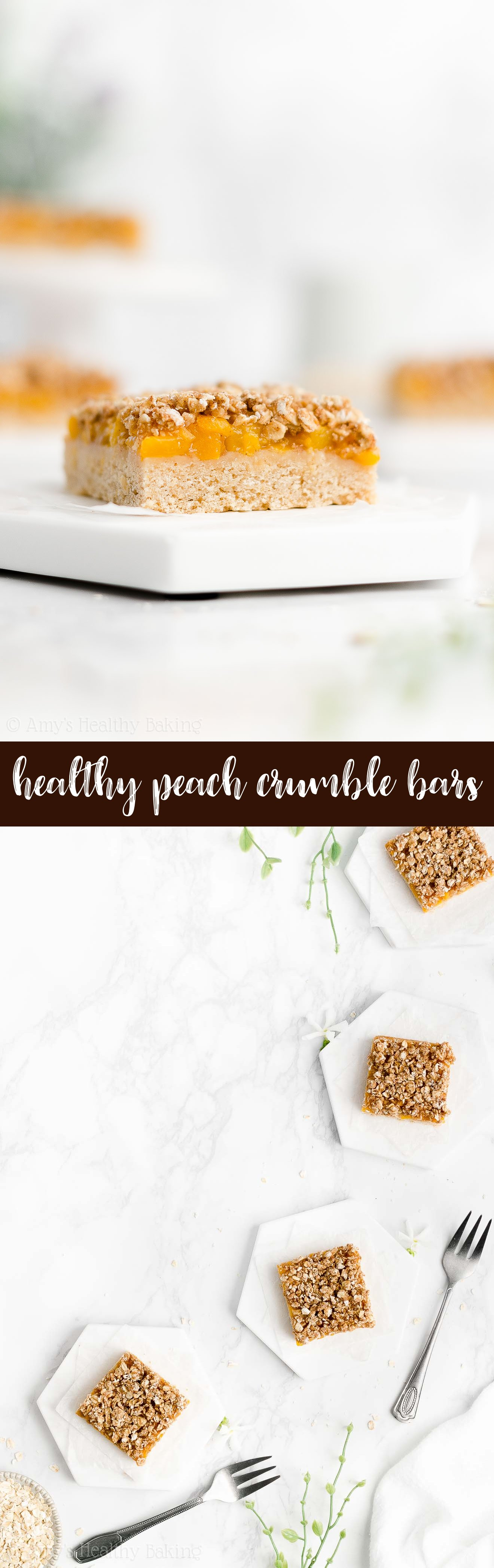 Best Ever Easy Healthy Vegan Gluten Free Peach Oatmeal Crumble Bars with Fresh or Canned Peaches