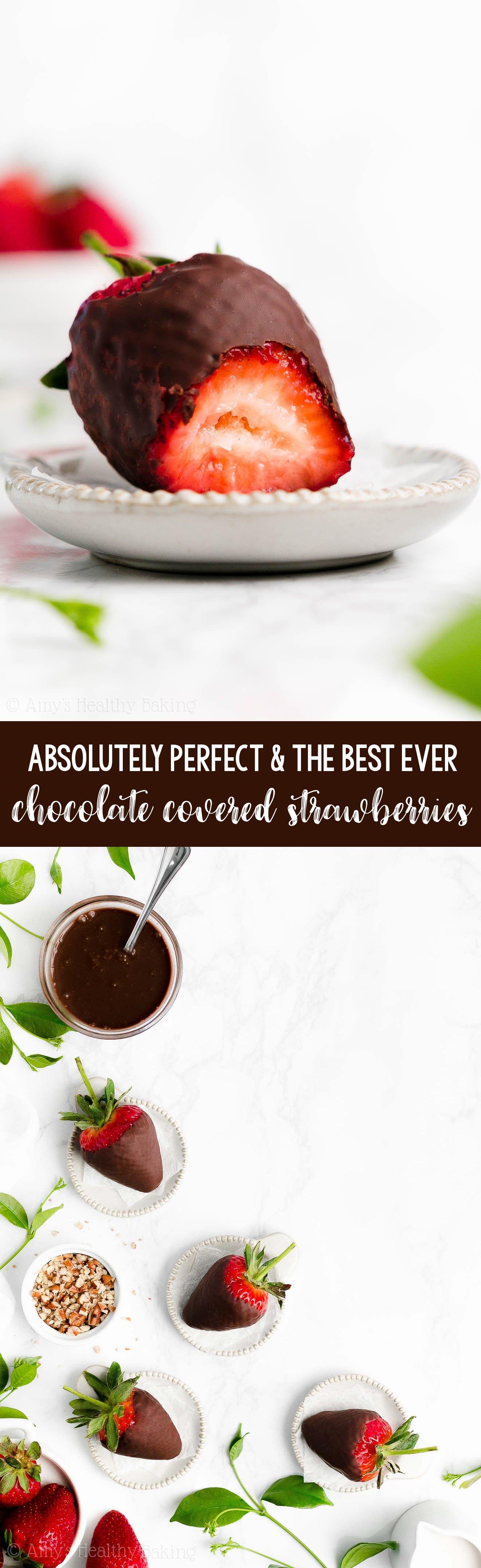Perfect, BEST EVER Healthy Homemade DIY Vegan Dark Chocolate Covered Strawberries
