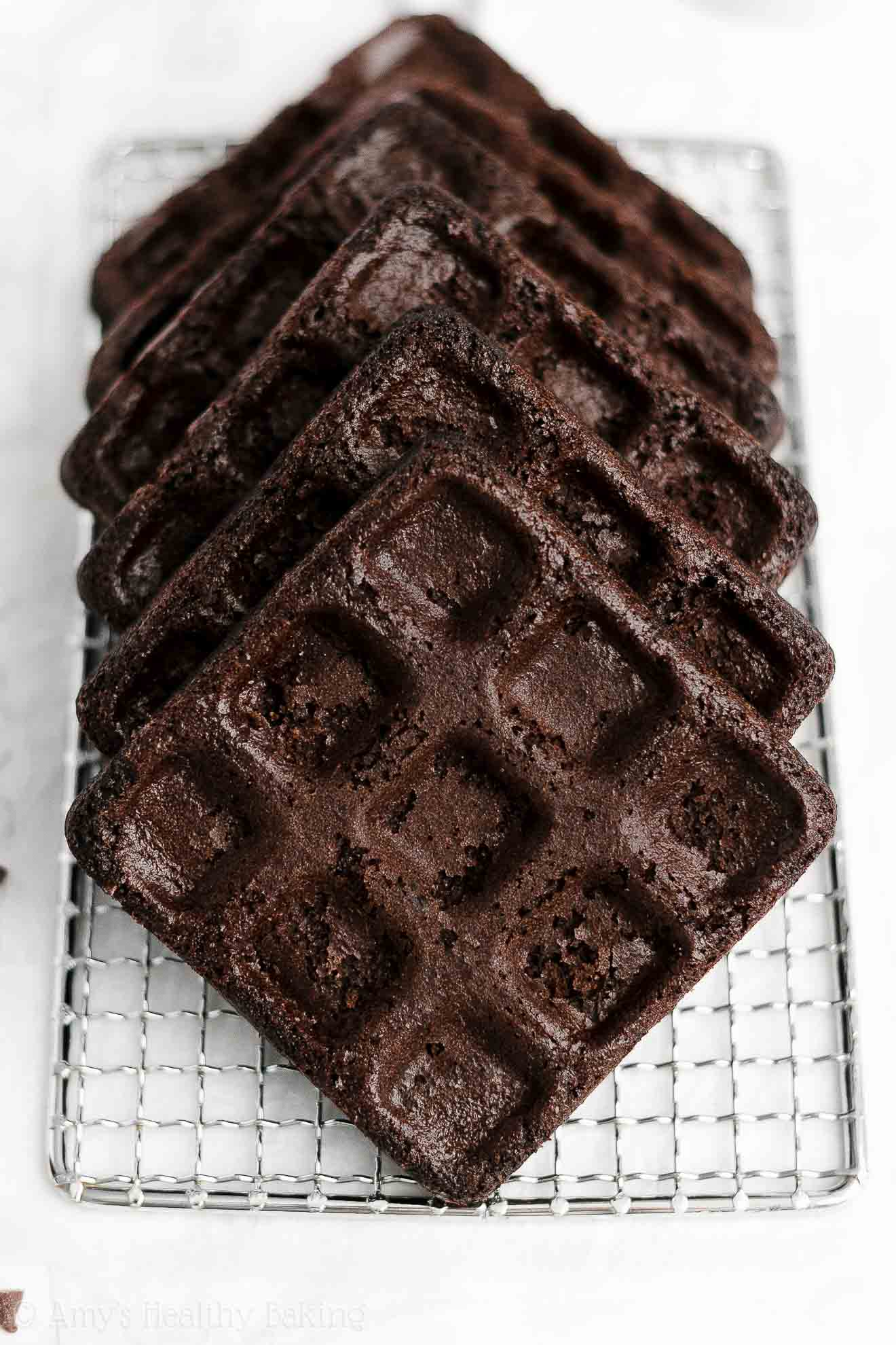ULTIMATE Best Healthy Baked Gluten Free Crispy Fluffy Dark Chocolate Waffles