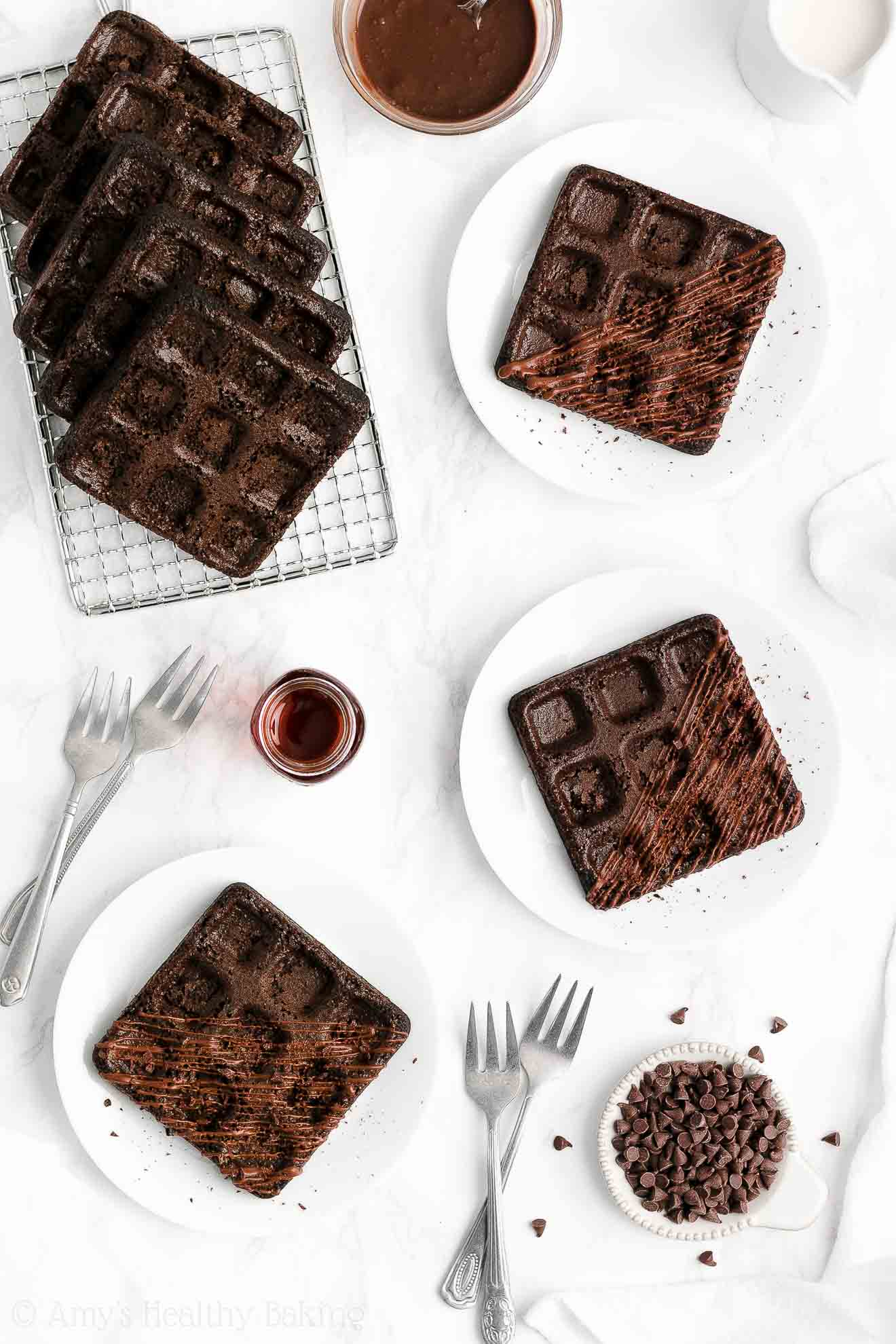 ULTIMATE Healthy Whole Wheat Greek Yogurt Homemade Dark Chocolate Waffles