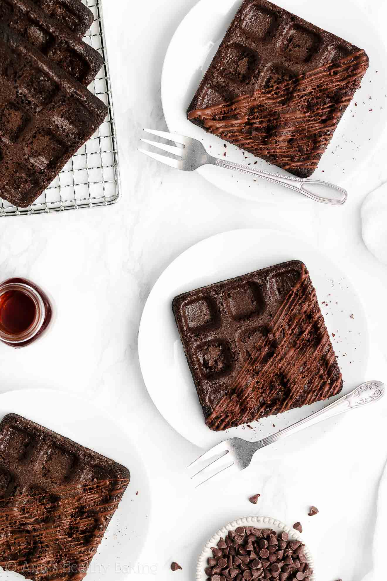 ULTIMATE Healthy Clean Eating Homemade Baked Dark Chocolate Waffles