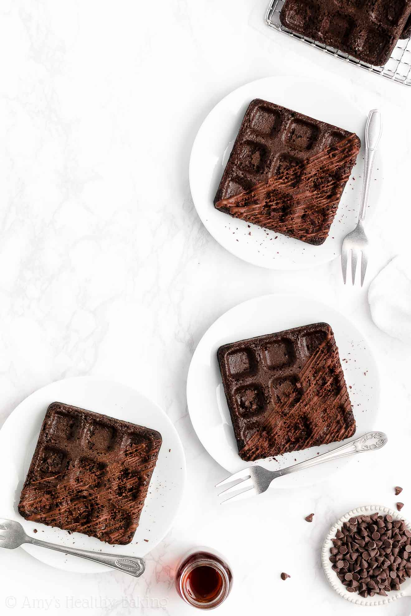 ULTIMATE Healthy Baked Crispy Fluffy Whole Wheat Dark Chocolate Waffles