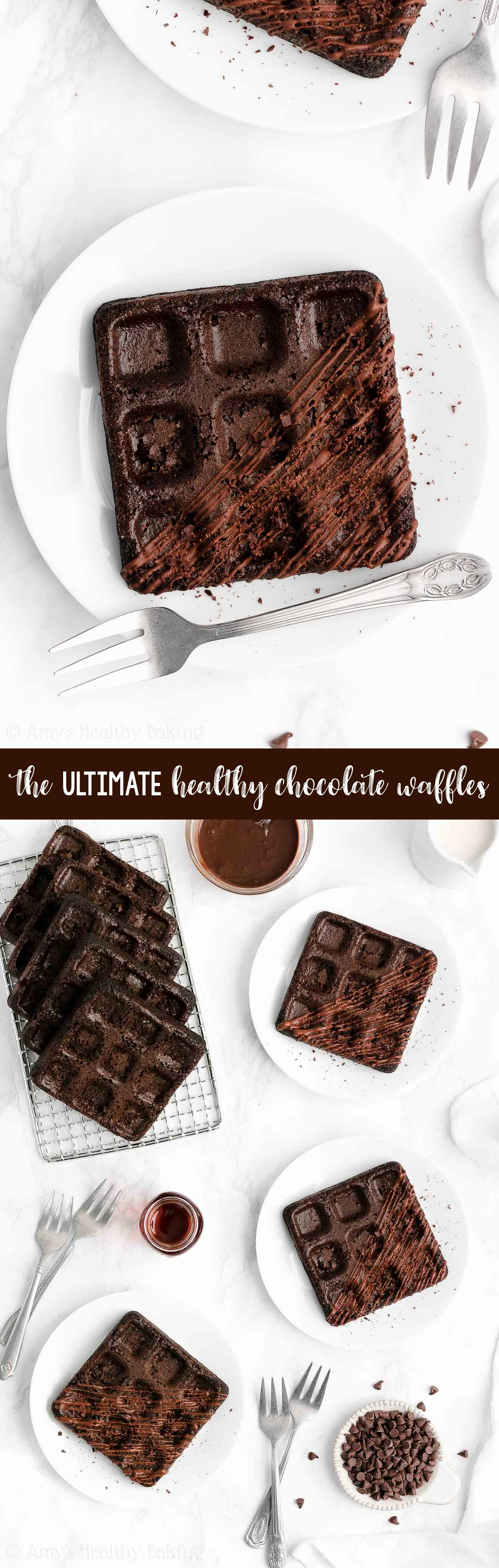 ULTIMATE Best Healthy Low Calorie Homemade Dark Chocolate Waffles From Scratch