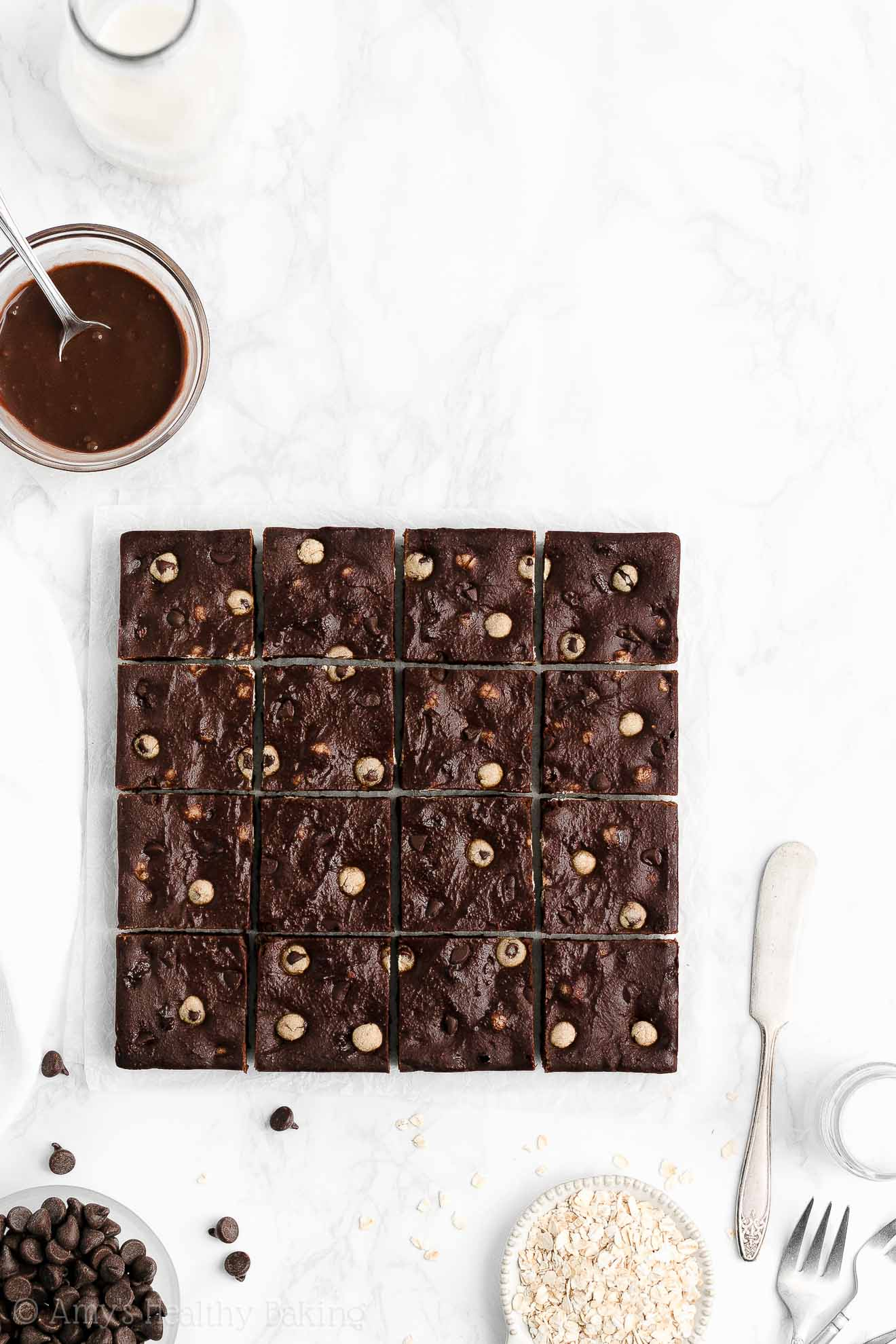 Healthy Flourless Fudgy Chewy Chocolate Chip Cookie Dough Brownies from Scratch