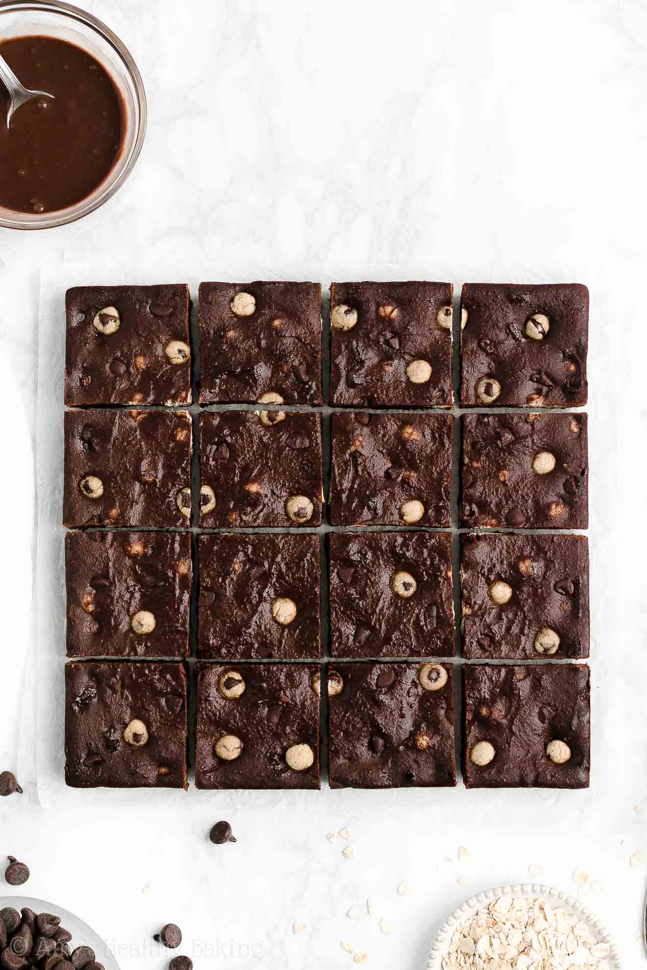 Easy Healthy Flourless Chewy Fudge Chocolate Chip Cookie Dough Brownies No Black Beans