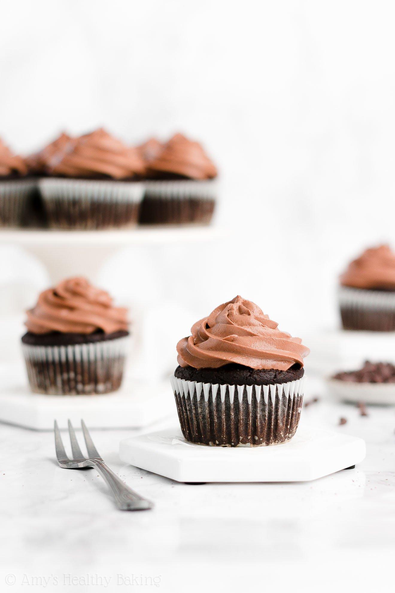 Best Easy Healthy Gluten Free Super Moist One-Bowl Dark Chocolate Cupcakes