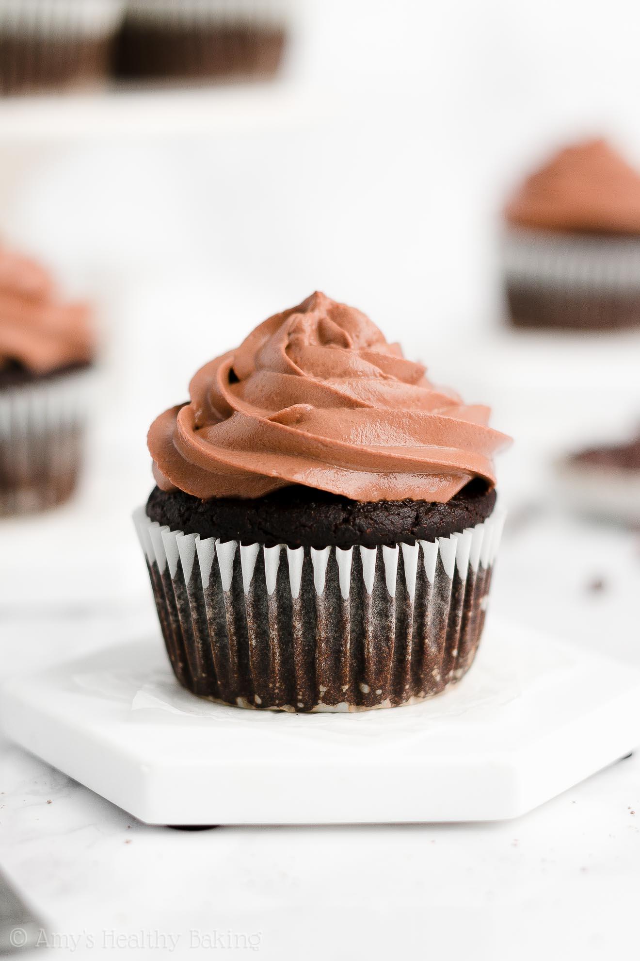 Best Easy Healthy Super Moist One-Bowl Greek Yogurt Dark Chocolate Cupcakes