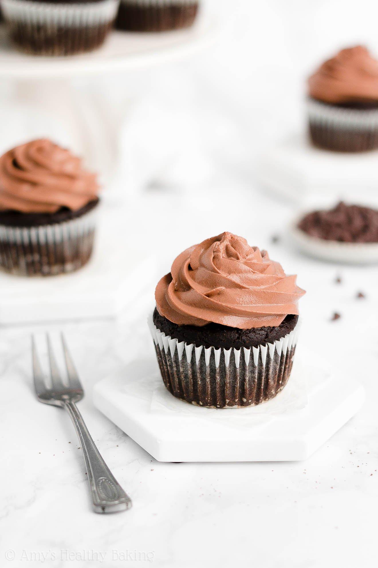 Best Easy Healthy Clean Eating Sugar Free One-Bowl Dark Chocolate Cupcakes