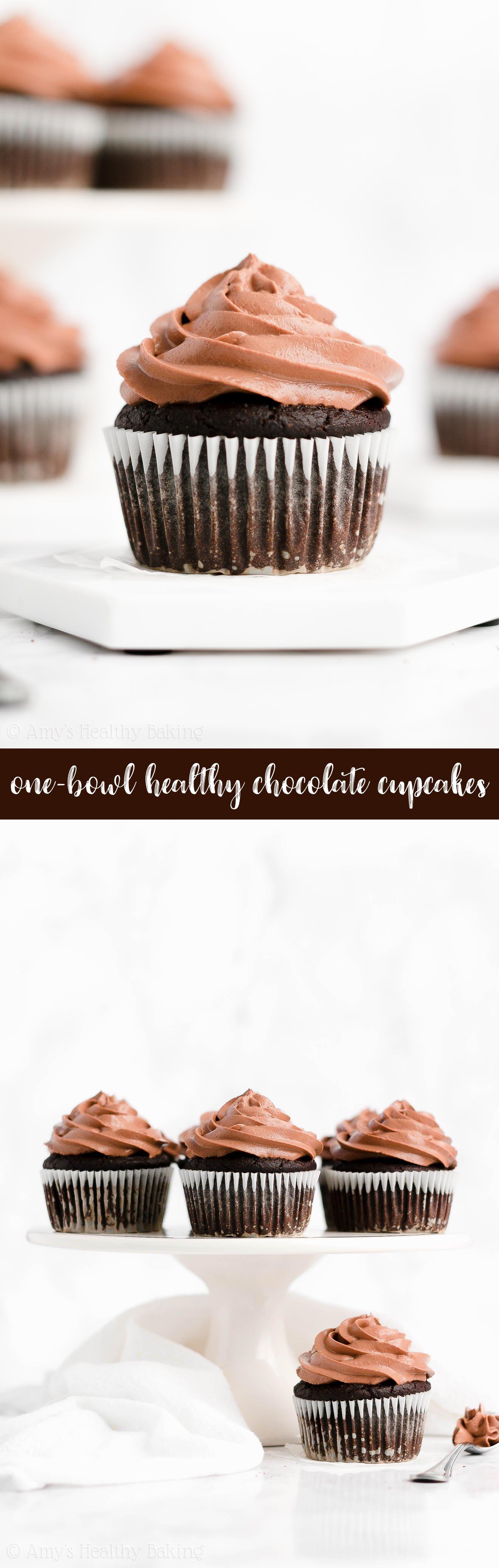 Best Ever Easy Healthy No Sugar One-Bowl Greek Yogurt Dark Chocolate Cupcakes