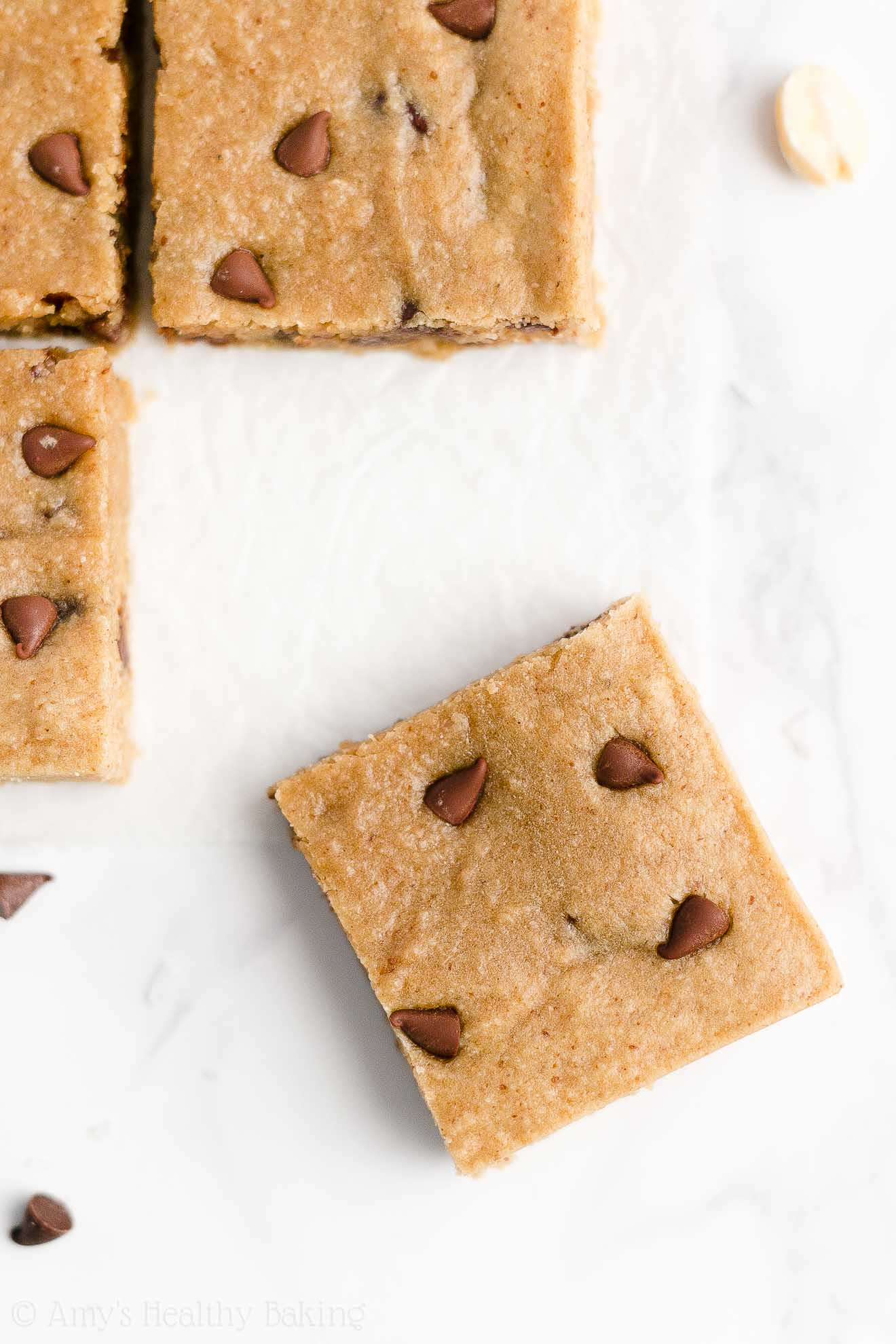 Best Easy Healthy Vegan Chewy Flourless Chocolate Chip Peanut Butter Cookie Bars