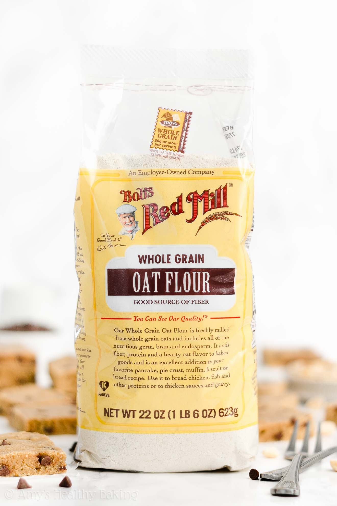 Bob's Red Mill Whole Grain Oat Flour for Healthy Chocolate Chip Peanut Butter Cookie Bars