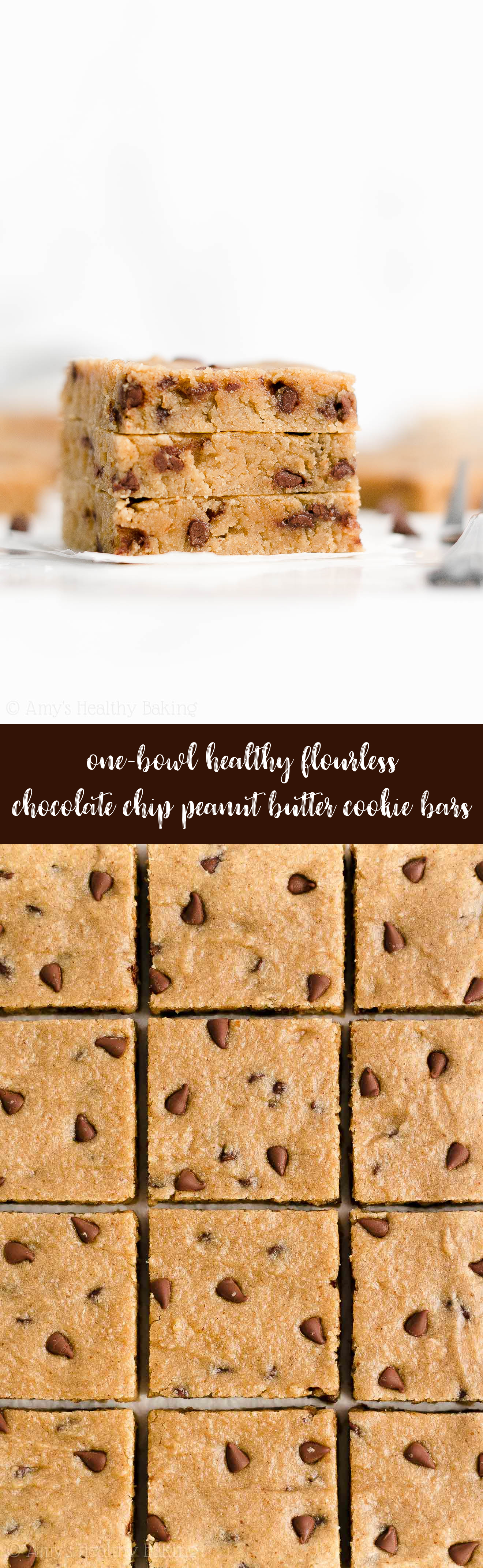Best Easy Healthy Gluten Free Vegan Flourless Chocolate Chip Peanut Butter Cookie Bars