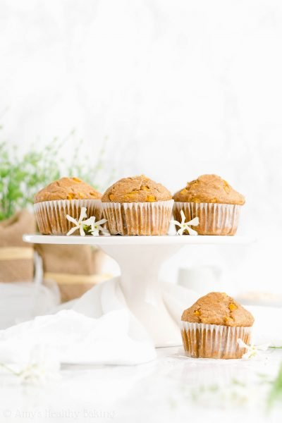 Healthy Peach Oatmeal Muffins
